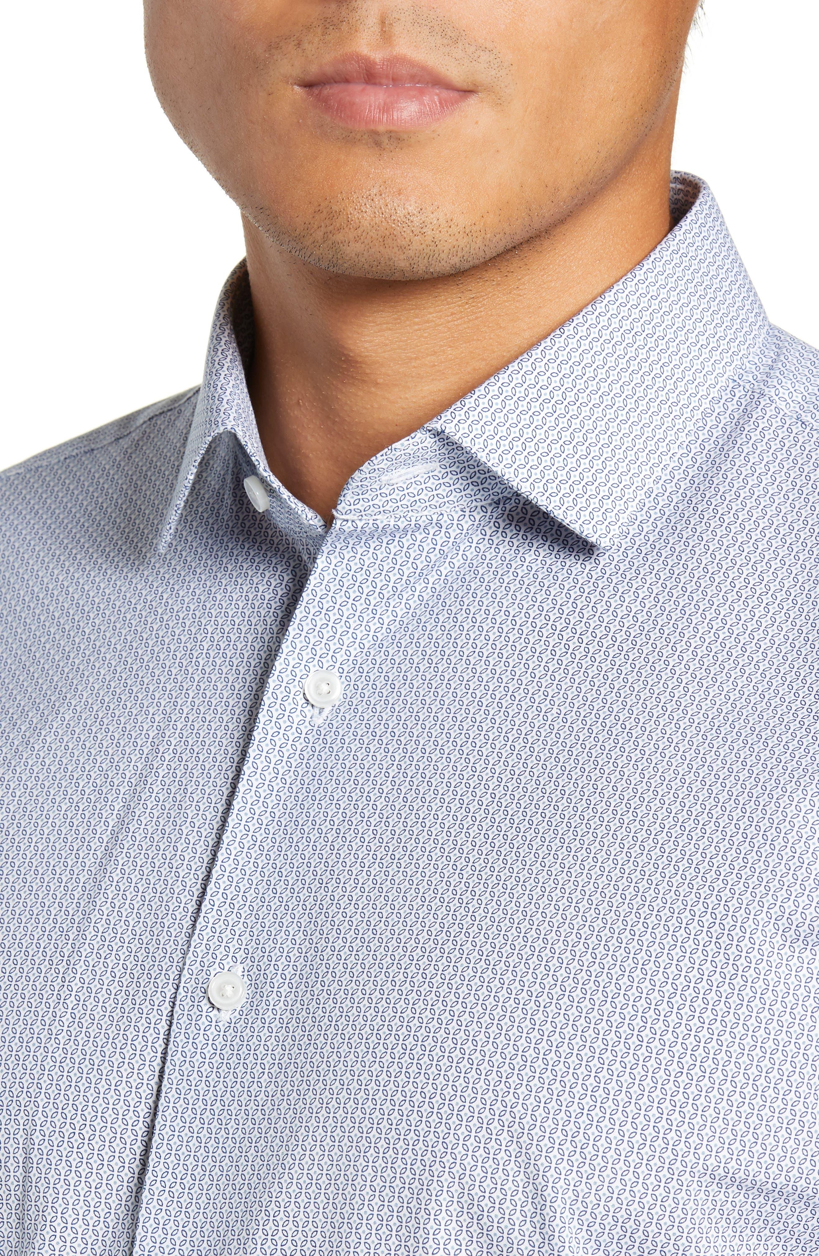 Trim Fit Geometric Print Dress Shirt,                             Alternate thumbnail 2, color,                             BLUE CHAMBRAY