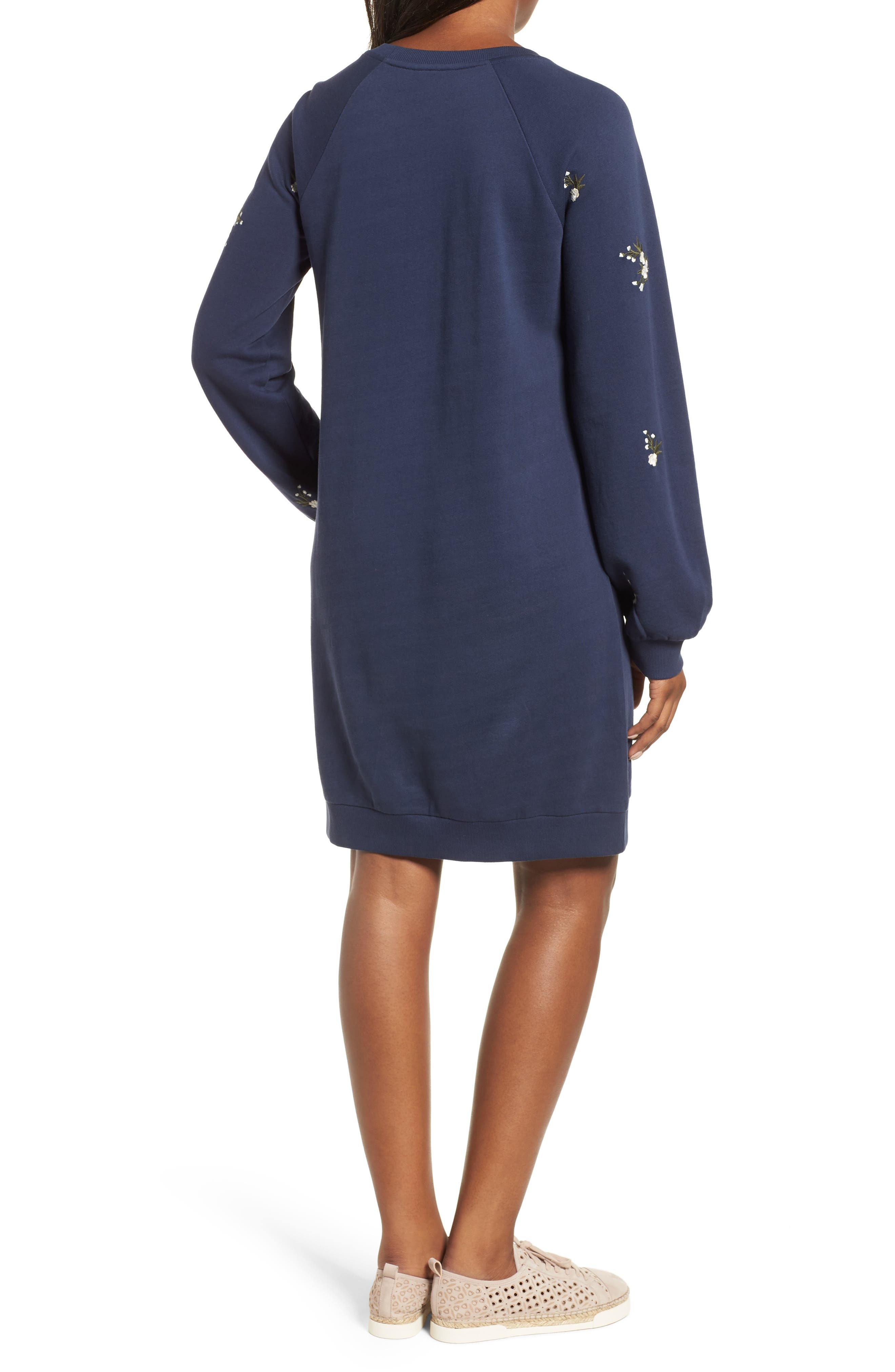 Embroidered Sweatshirt Dress,                             Alternate thumbnail 2, color,                             NAVY INDIGO GAYLE EMB
