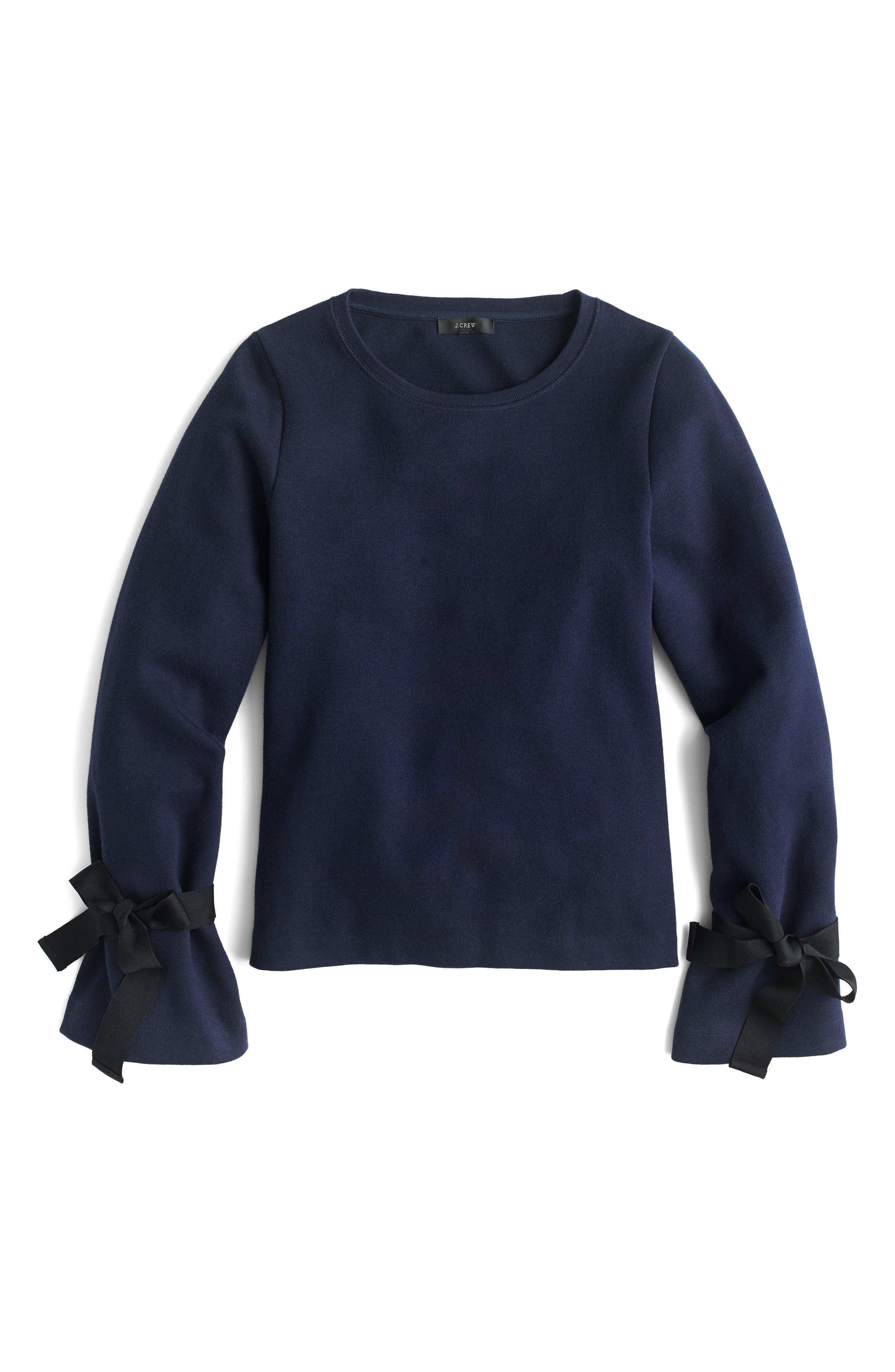 Tie Sleeve Sweatshirt,                             Alternate thumbnail 5, color,