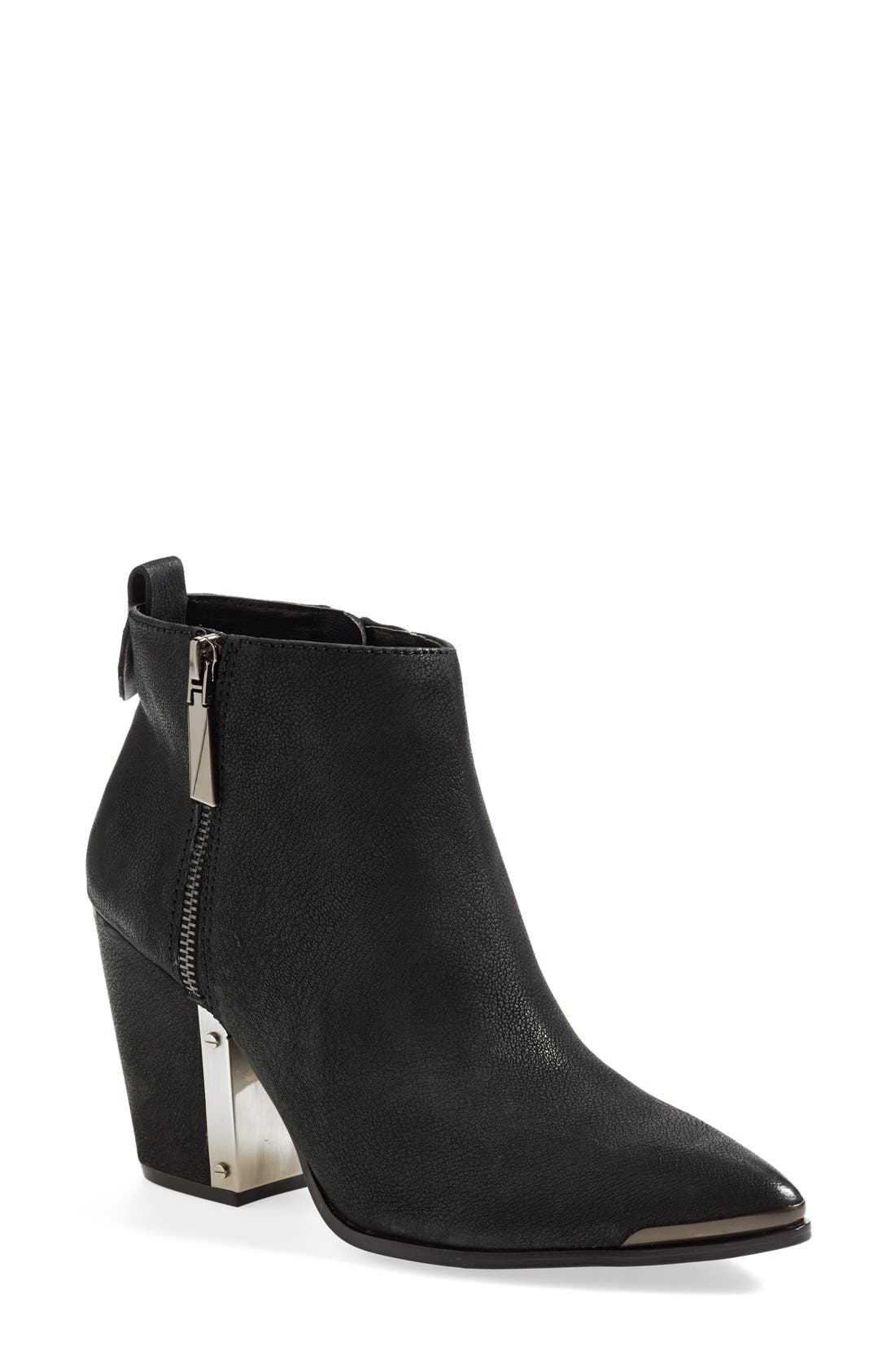 'Amori' Pointy Toe Leather Bootie,                             Main thumbnail 1, color,                             003