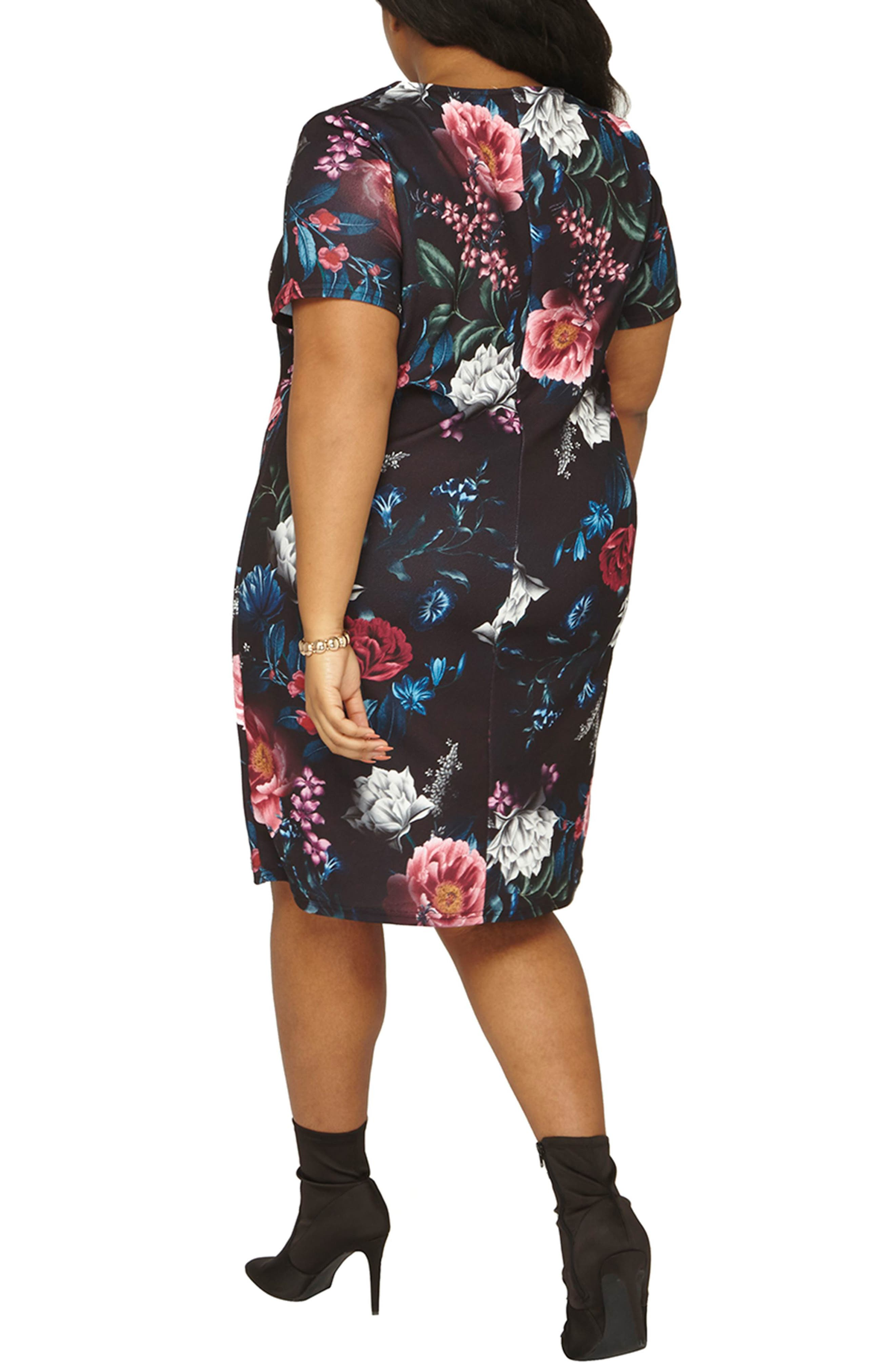 Floral Print Shift Dress,                             Alternate thumbnail 2, color,                             001