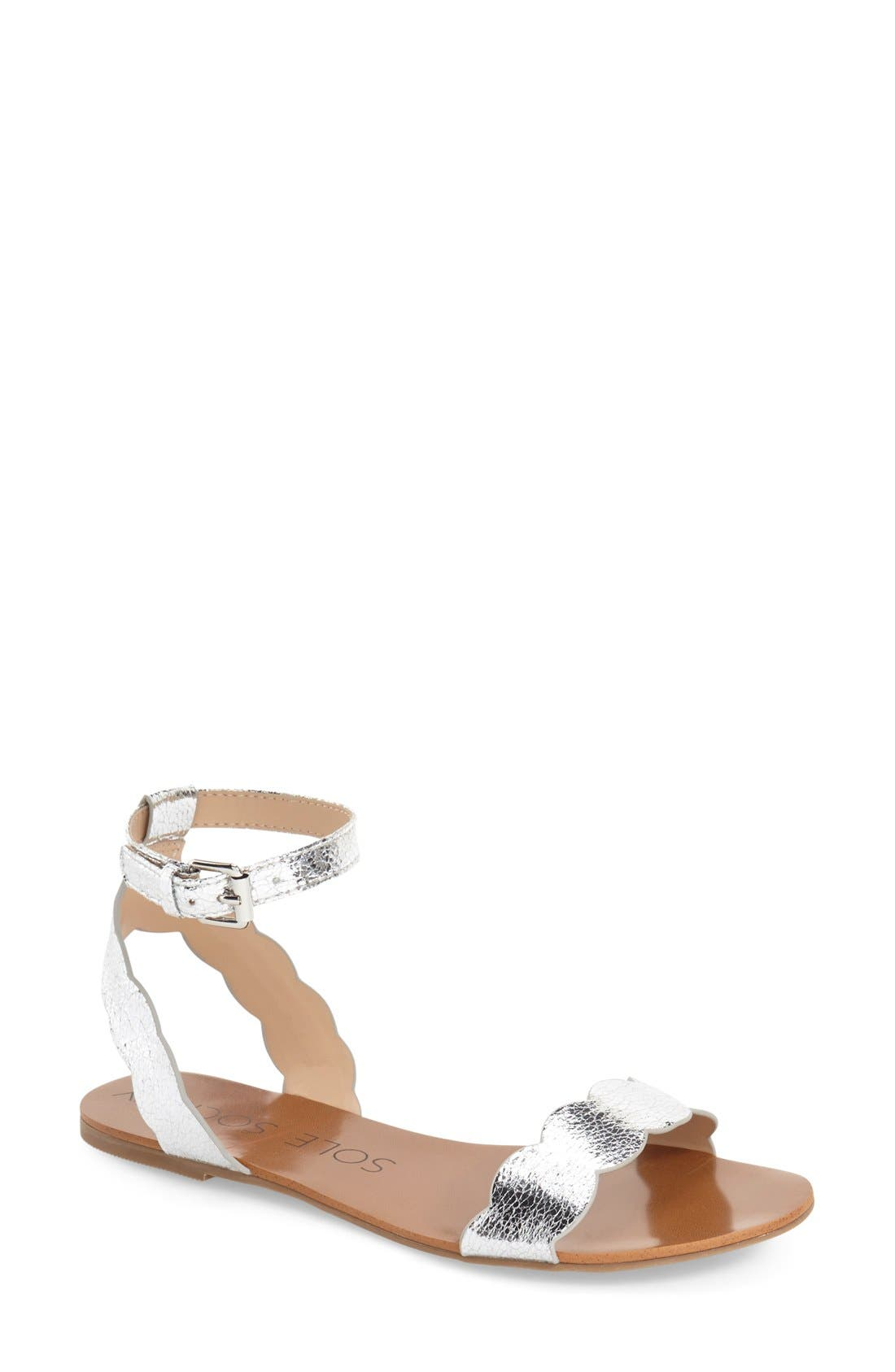 'Odette' Scalloped Ankle Strap Flat Sandal,                             Main thumbnail 4, color,