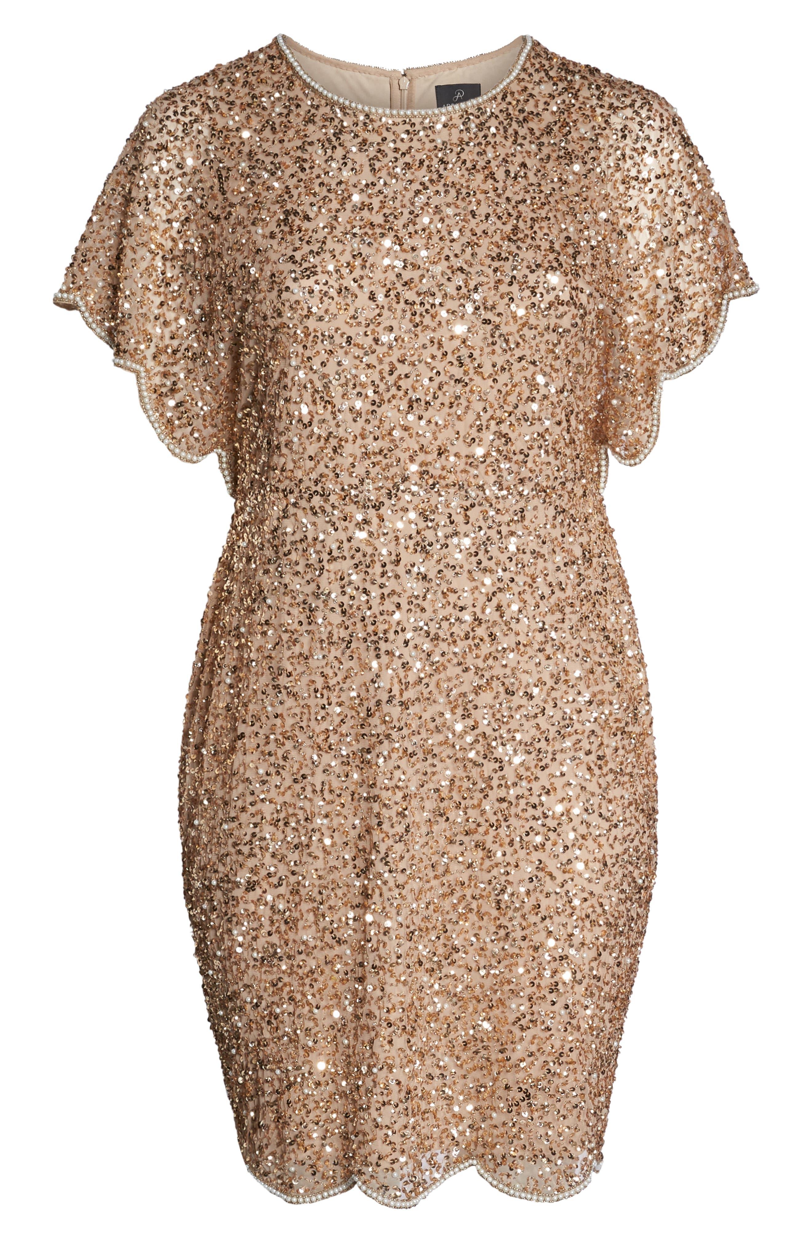 Beaded Flutter Sleeve Sheath Dress,                             Alternate thumbnail 7, color,                             CHAMPAGNE/ GOLD