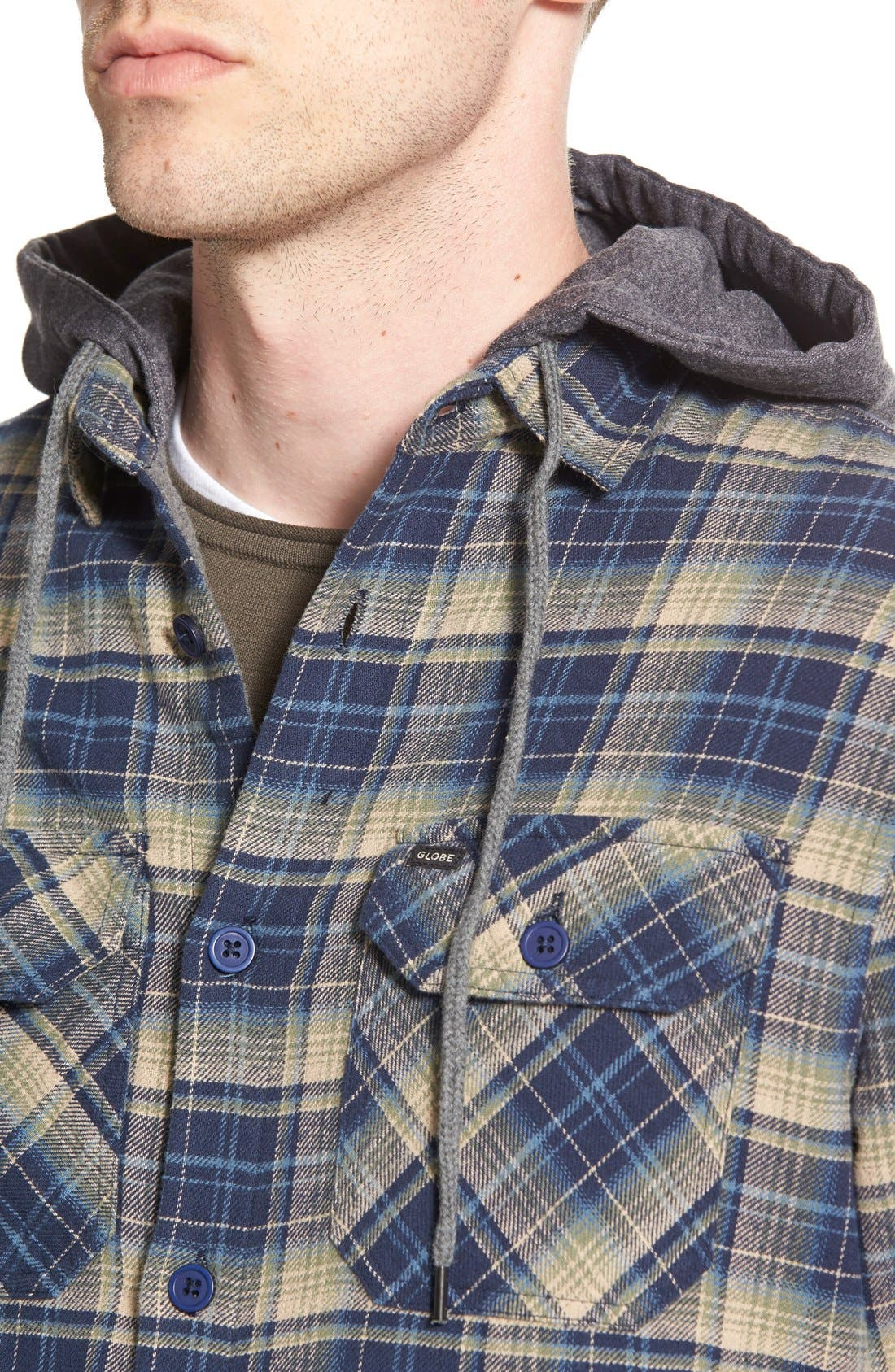 'Alford' Trim Fit Long Sleeve Plaid Hooded Shirt,                             Alternate thumbnail 10, color,
