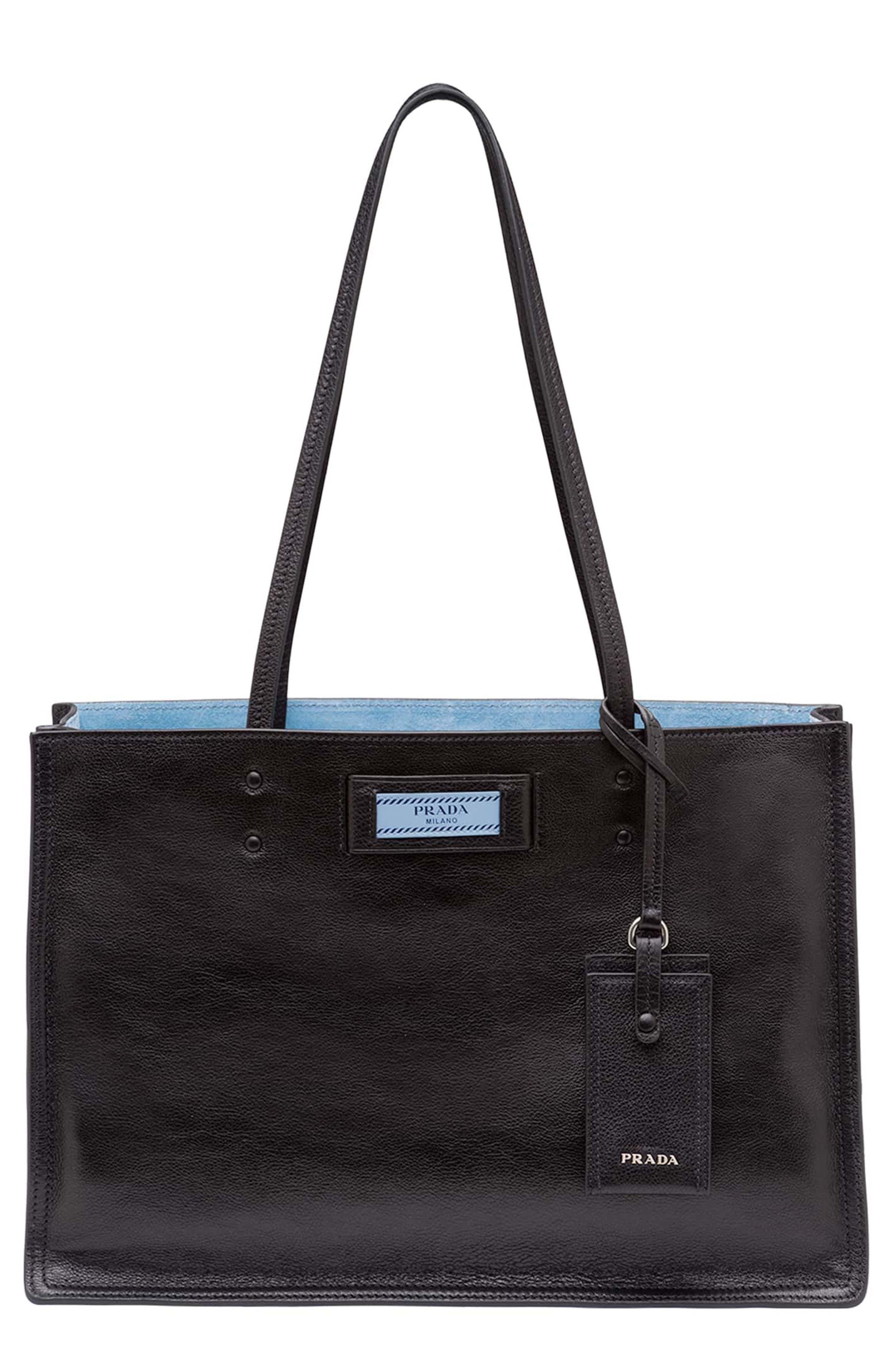 Small Etiquette Glace Calfskin Shopper,                         Main,                         color, NERO/ ASTRALE