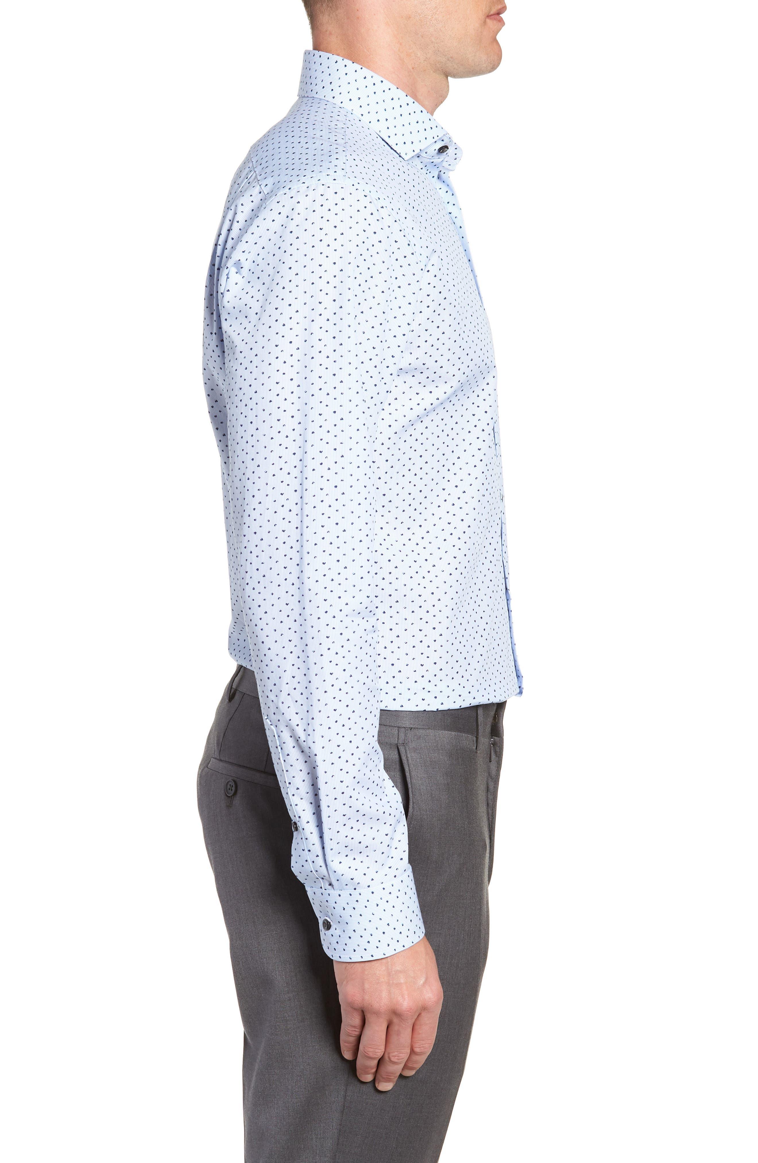 Trim Fit Stripe Dot Dress Shirt,                             Alternate thumbnail 4, color,                             BLUE CORNFLOWER