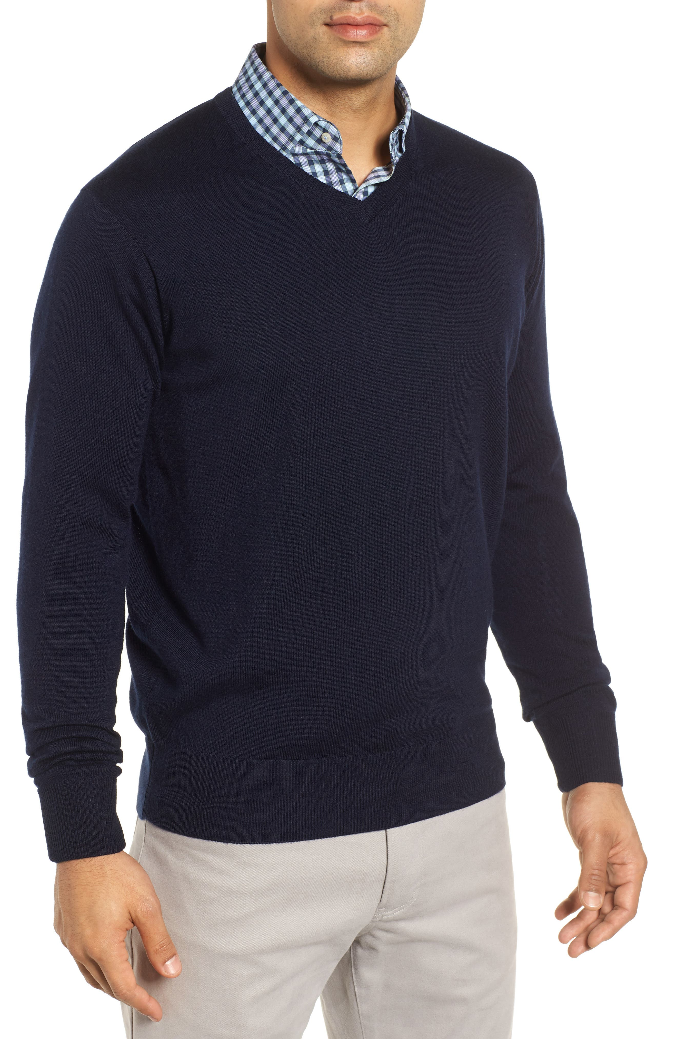 Wool & Silk V-Neck Sweater,                             Main thumbnail 1, color,                             NAVY