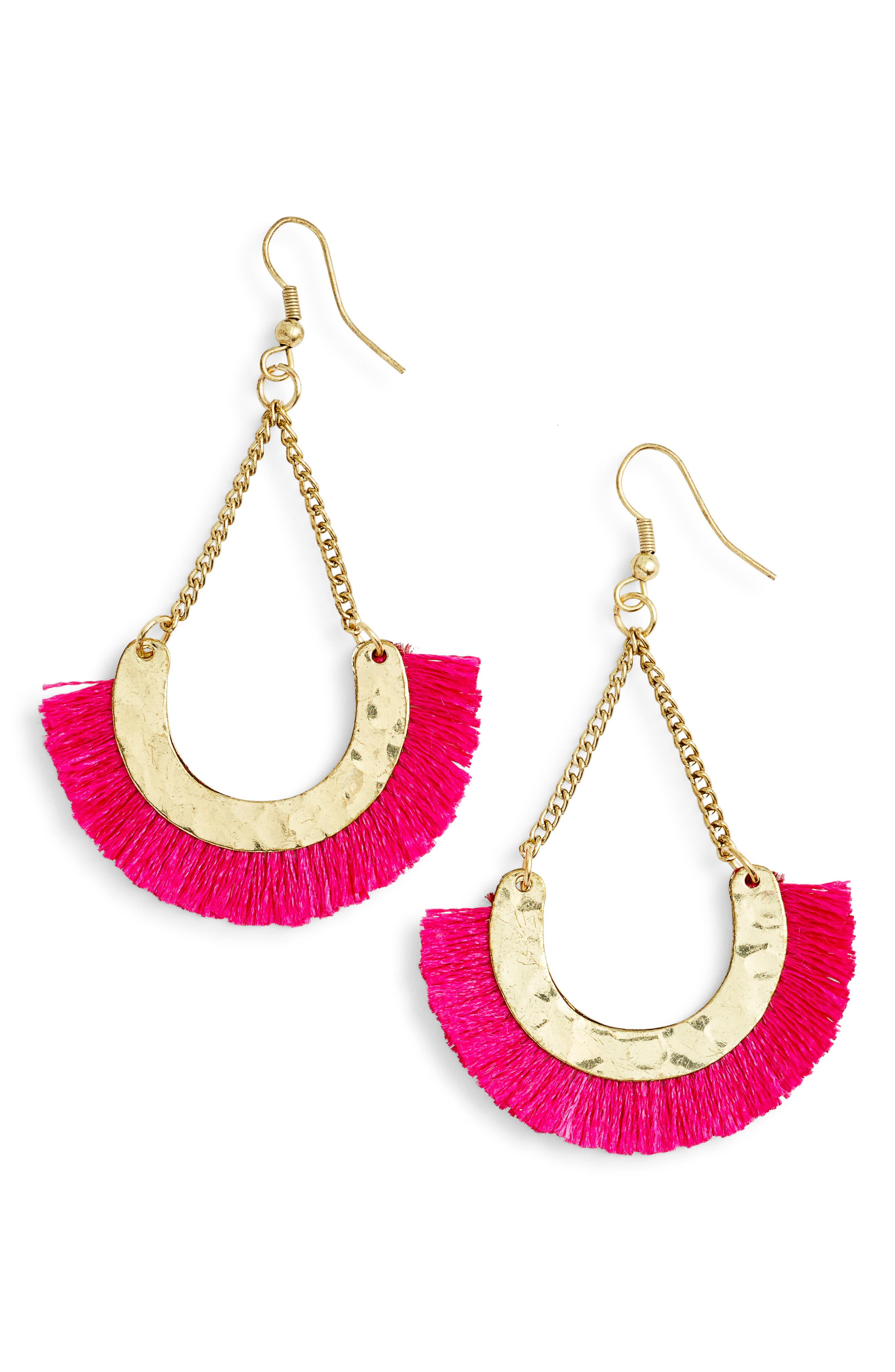 Maldives Fringed Fan Earrings,                             Main thumbnail 1, color,