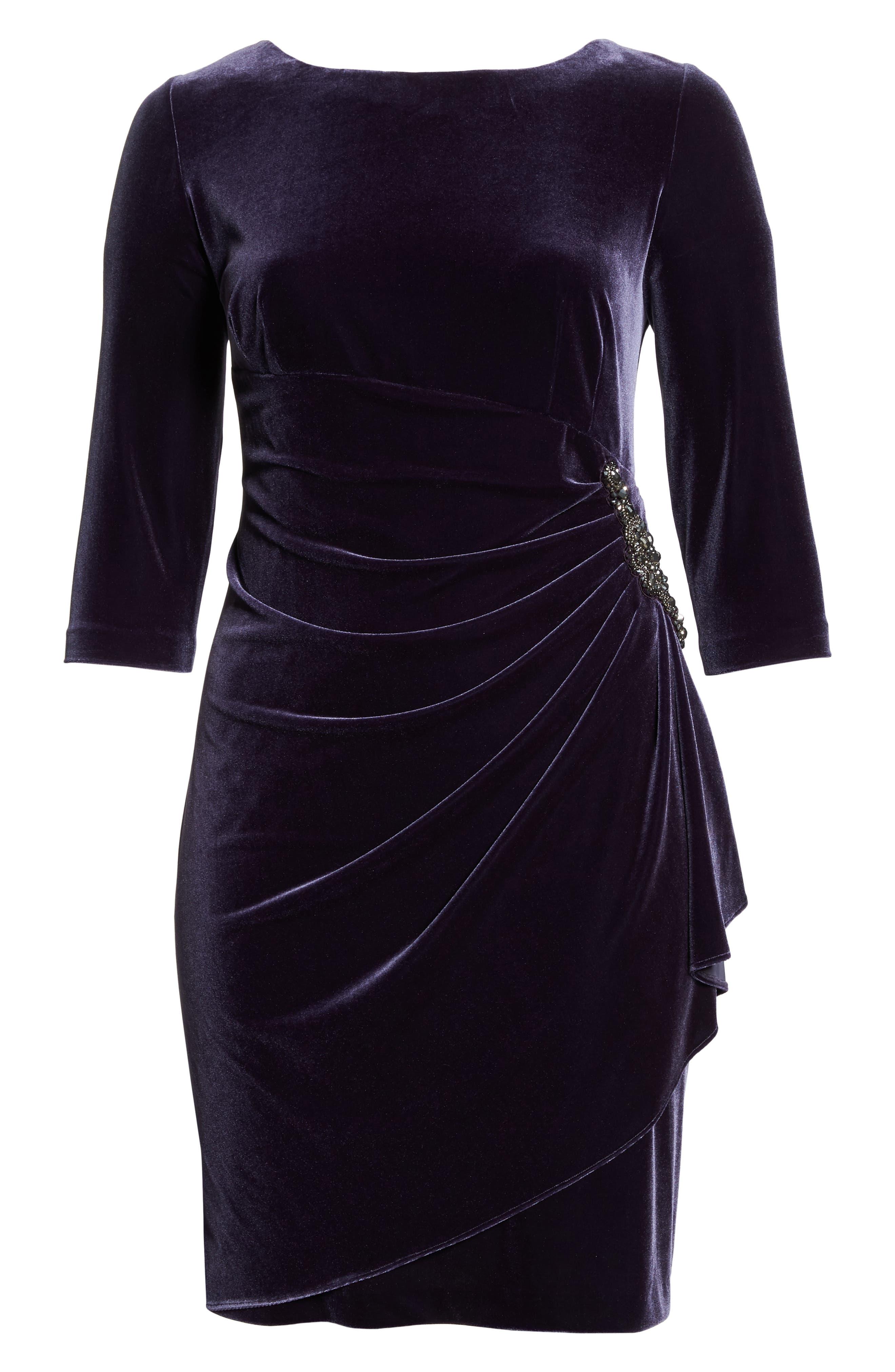 Alex Evening Velvet Sheath Dress,                             Alternate thumbnail 7, color,                             AMETHYST