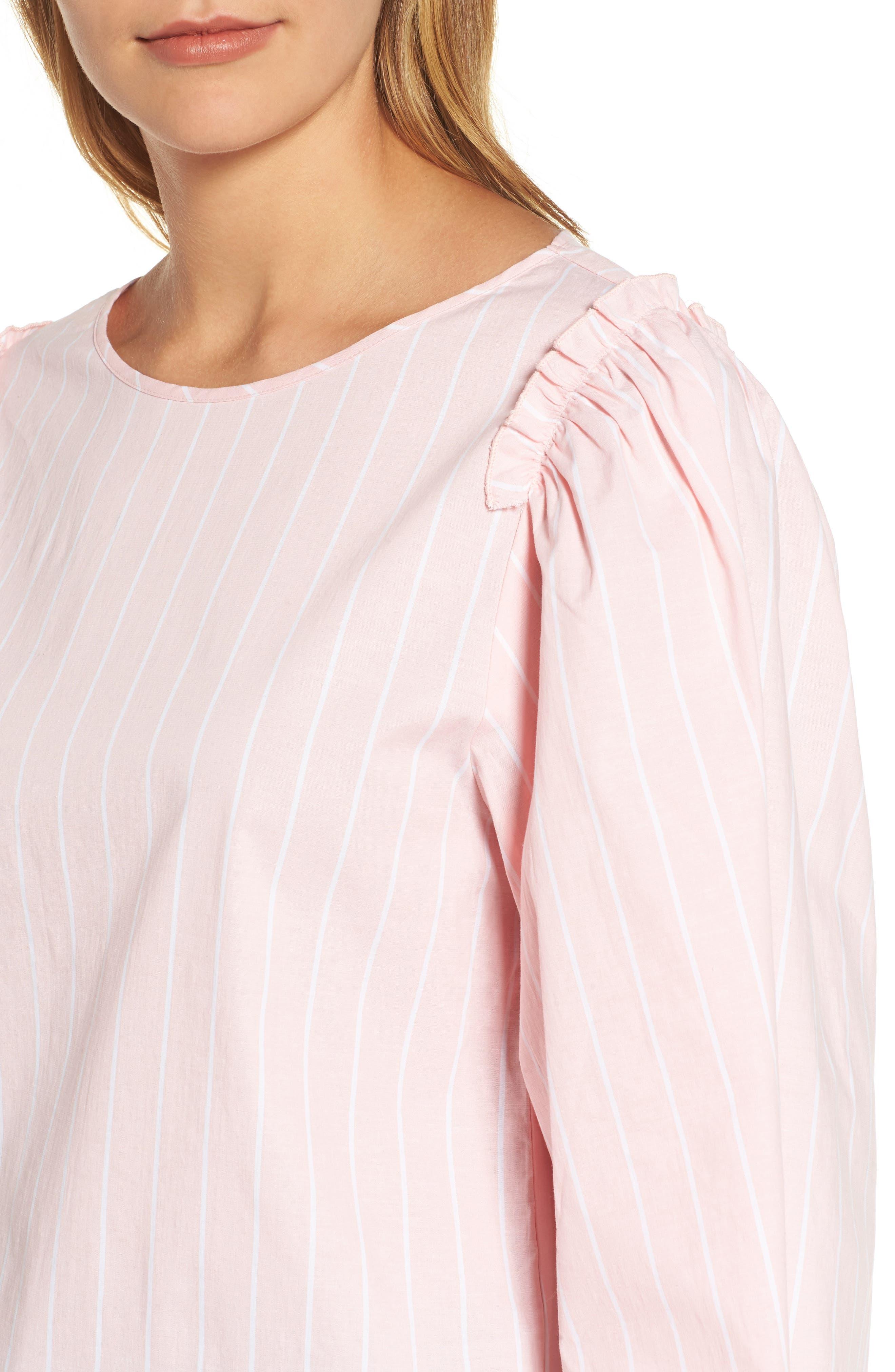 Bell Sleeve Stripe Blouse,                             Alternate thumbnail 8, color,