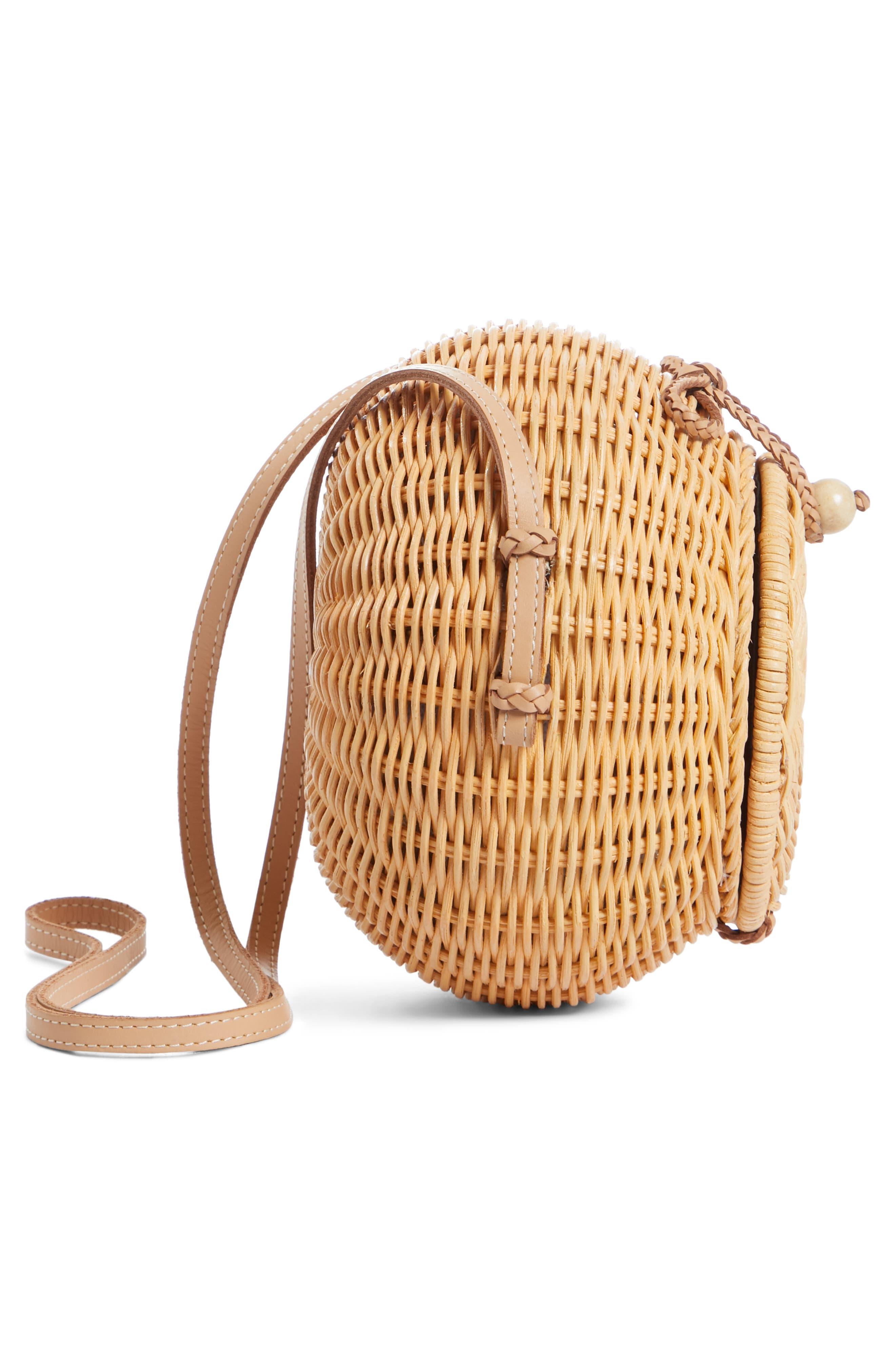 ULLA JOHNSON,                             Pomme Woven Rattan Shoulder Bag,                             Alternate thumbnail 5, color,                             NATURAL