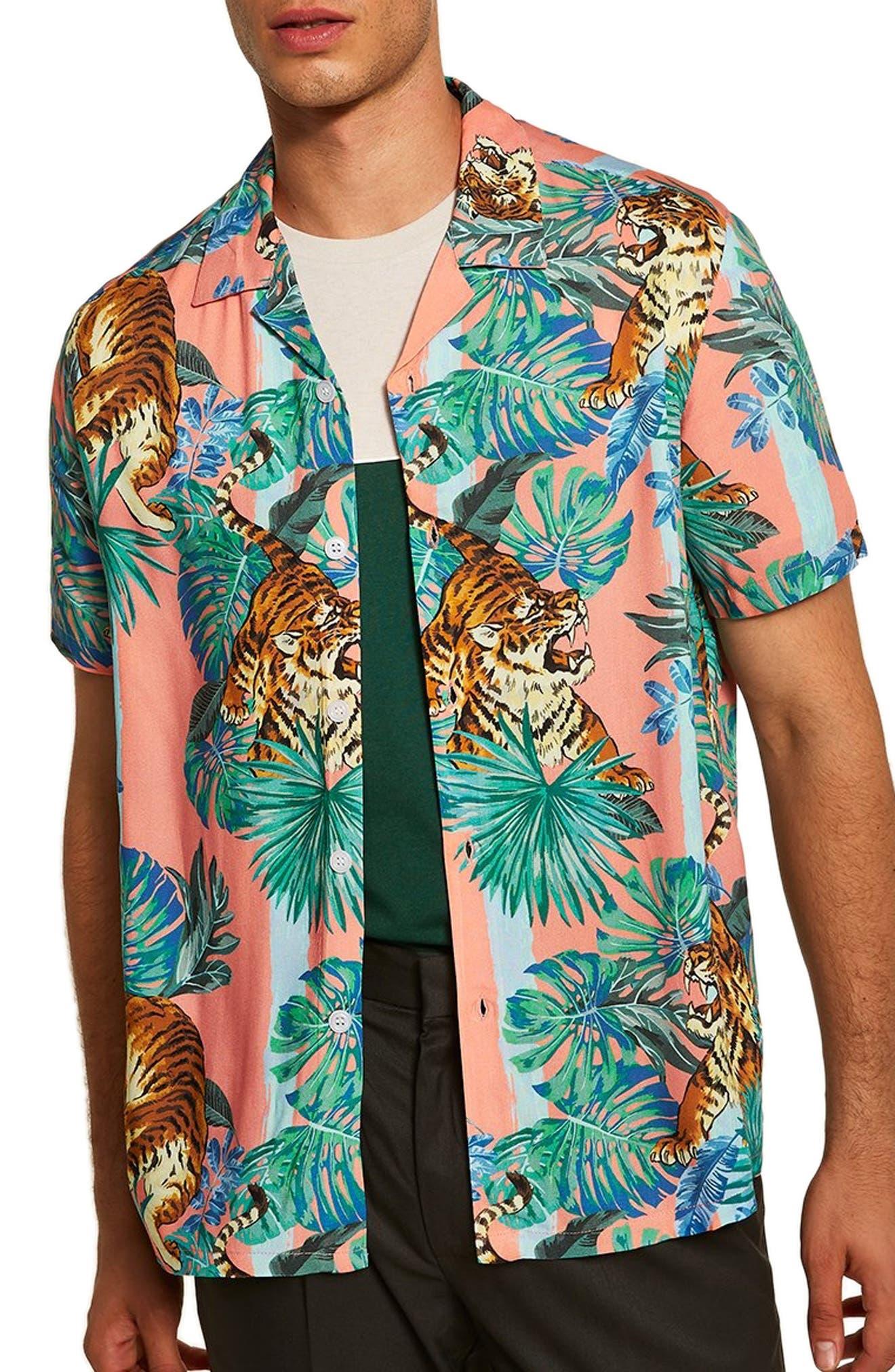 Tiger Print Shirt,                             Main thumbnail 1, color,                             PINK MULTI