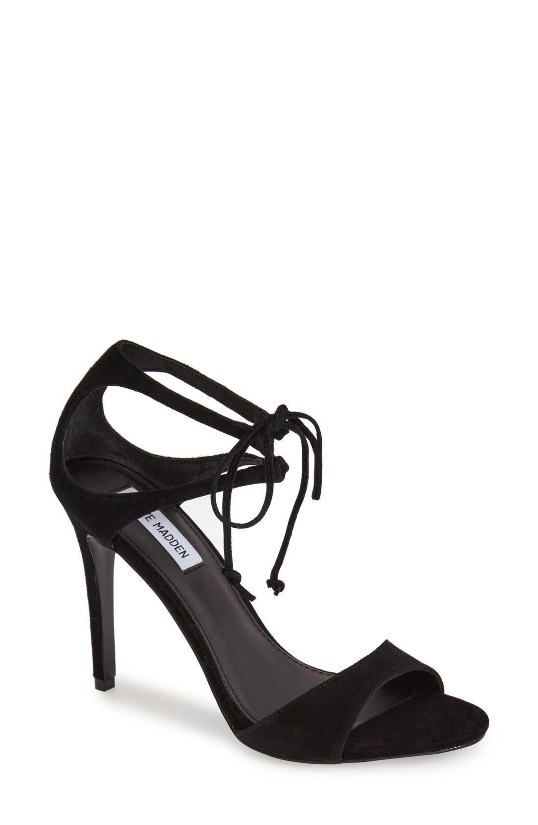 'Semona' Suede Ankle Strap Sandal,                             Main thumbnail 1, color,                             001