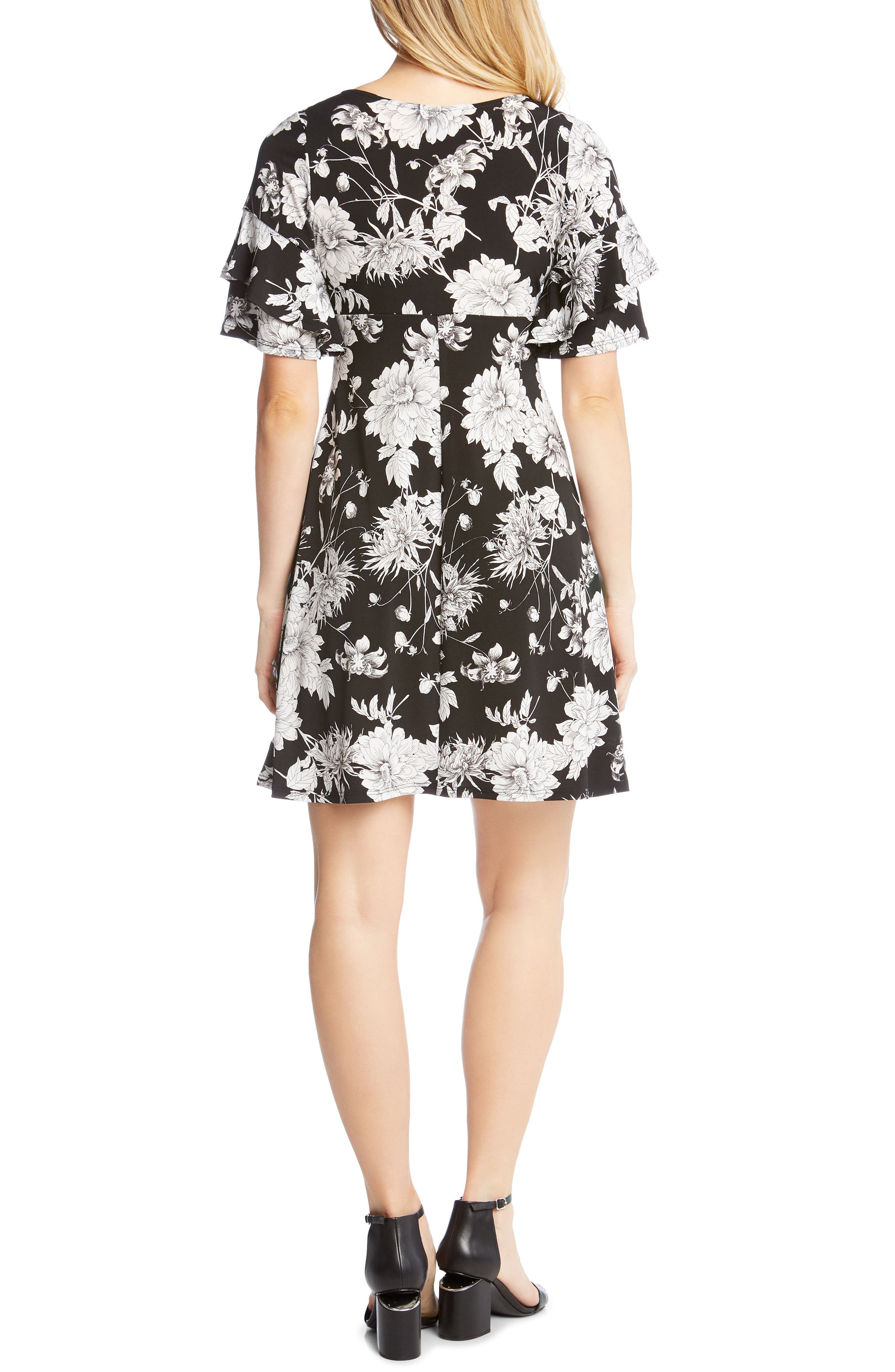 Ruffle Sleeve Floral Dress,                             Alternate thumbnail 2, color,