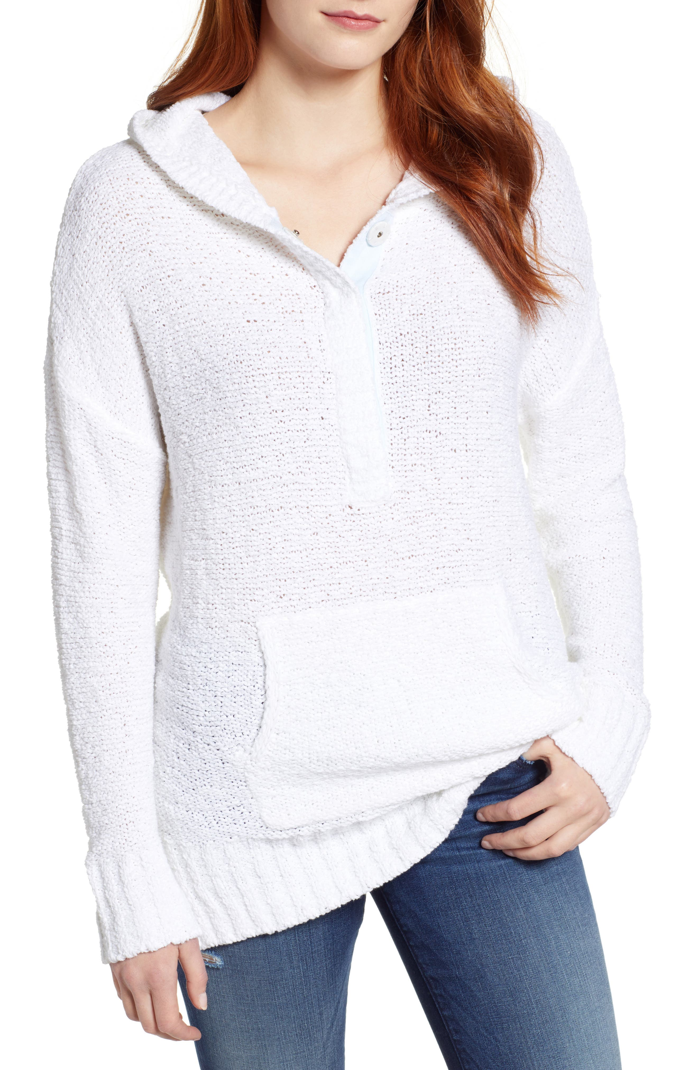 Beachy Hooded Knit Sweater,                         Main,                         color, WHITE