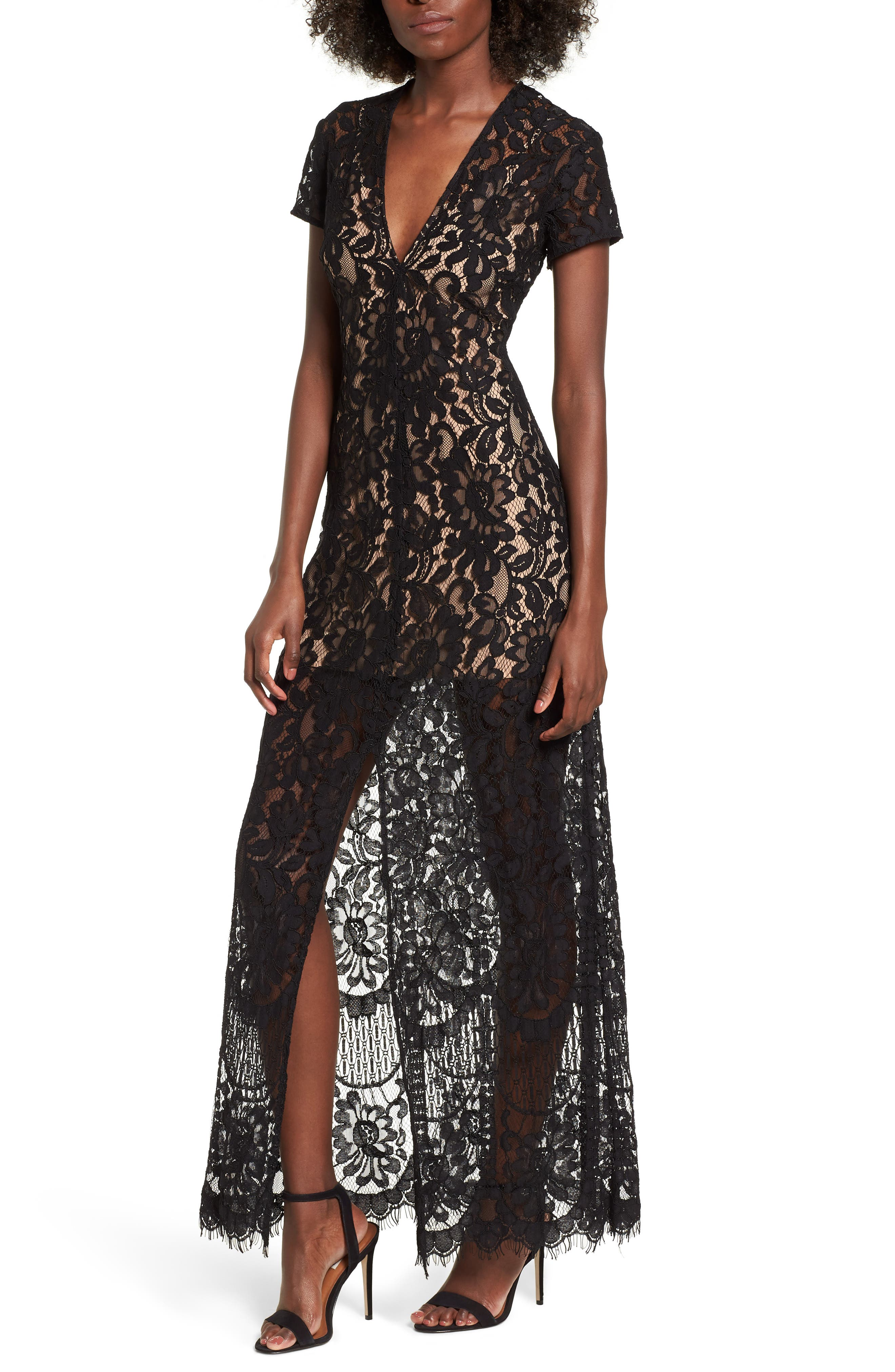 V-Neck Lace Maxi Dress,                             Main thumbnail 1, color,                             001