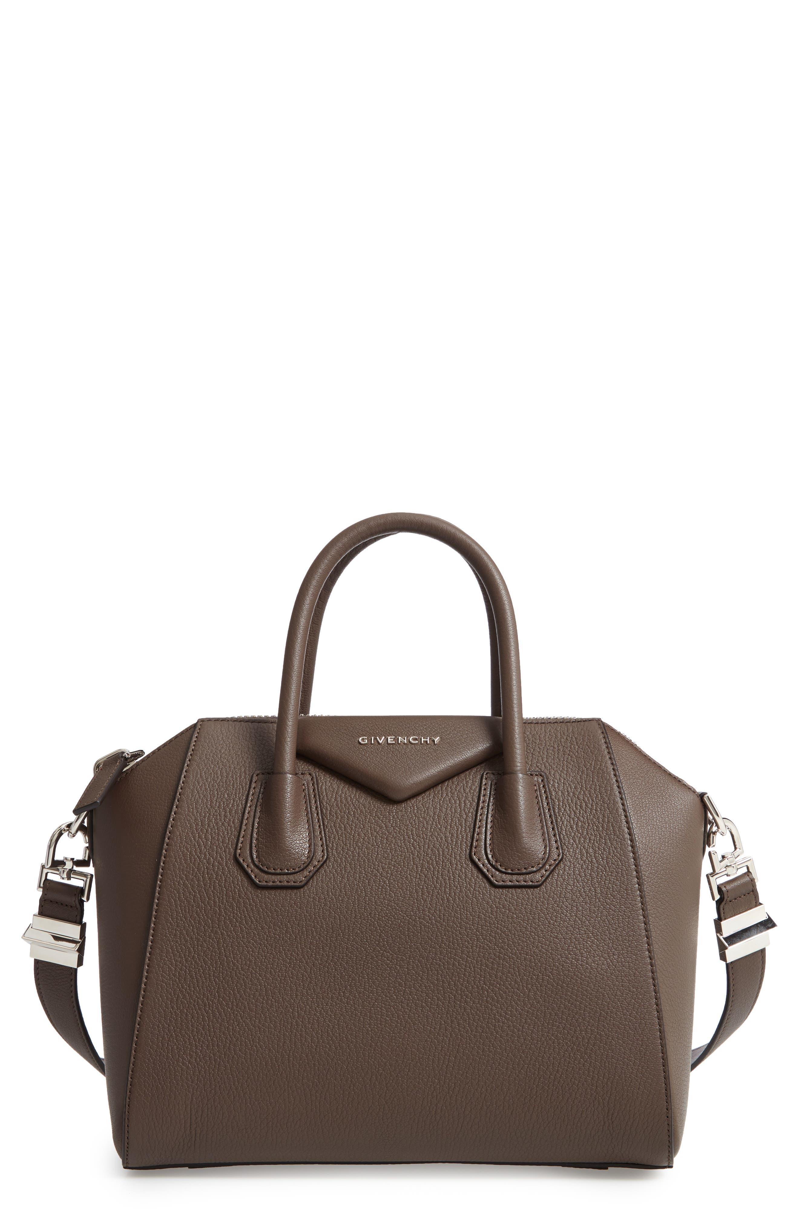 'Small Antigona' Leather Satchel,                         Main,                         color, HEATHER GREY