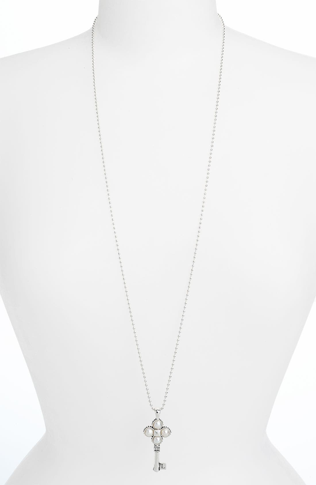 'Luna' Pearl Long Key Pendant Necklace,                             Alternate thumbnail 4, color,                             040