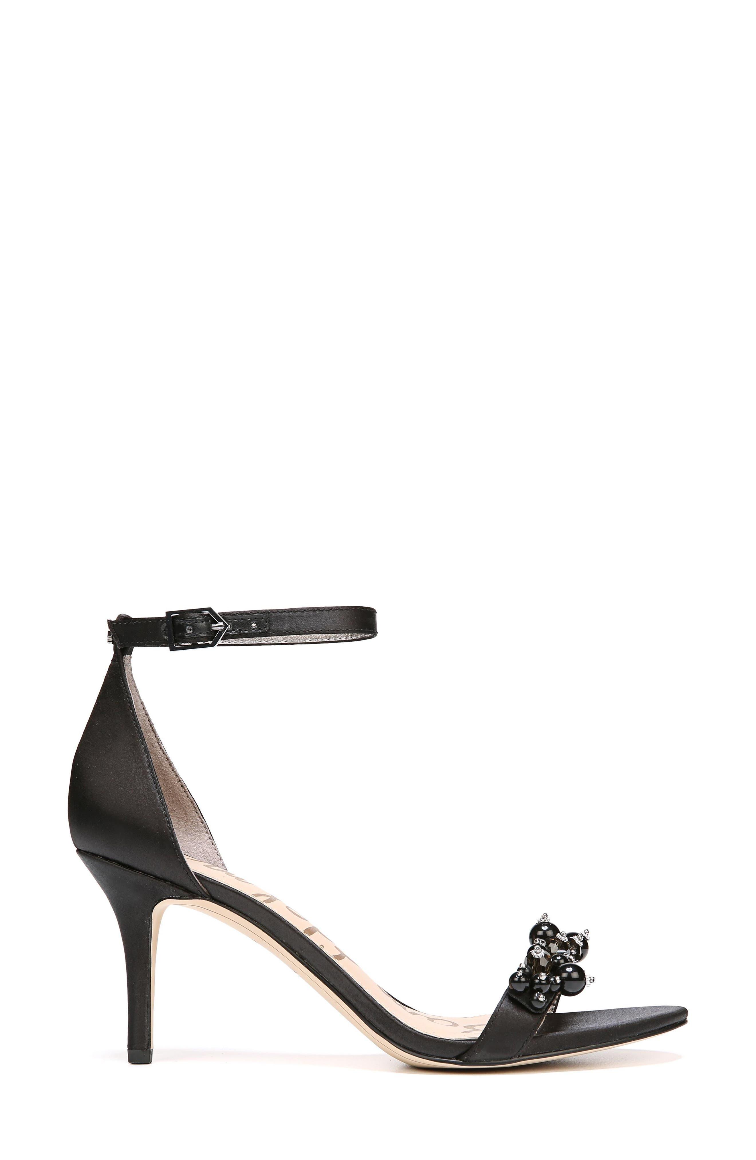 Platt Embellished Sandal,                             Alternate thumbnail 3, color,                             BLACK SATIN