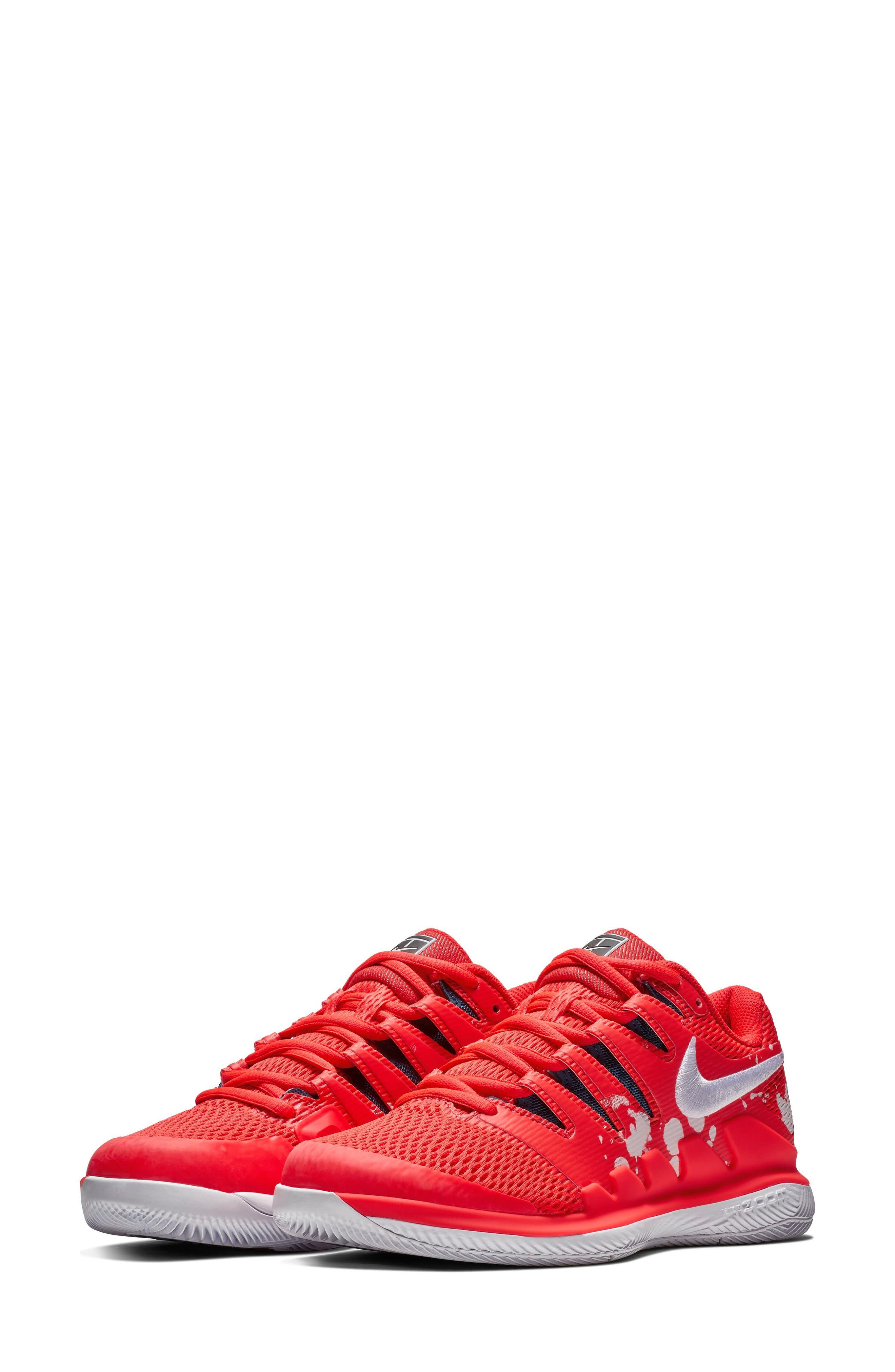 Air Zoom Vapor X Tennis Shoe,                         Main,                         color, BRIGHT CRIMSON/ WHITE- BLUE