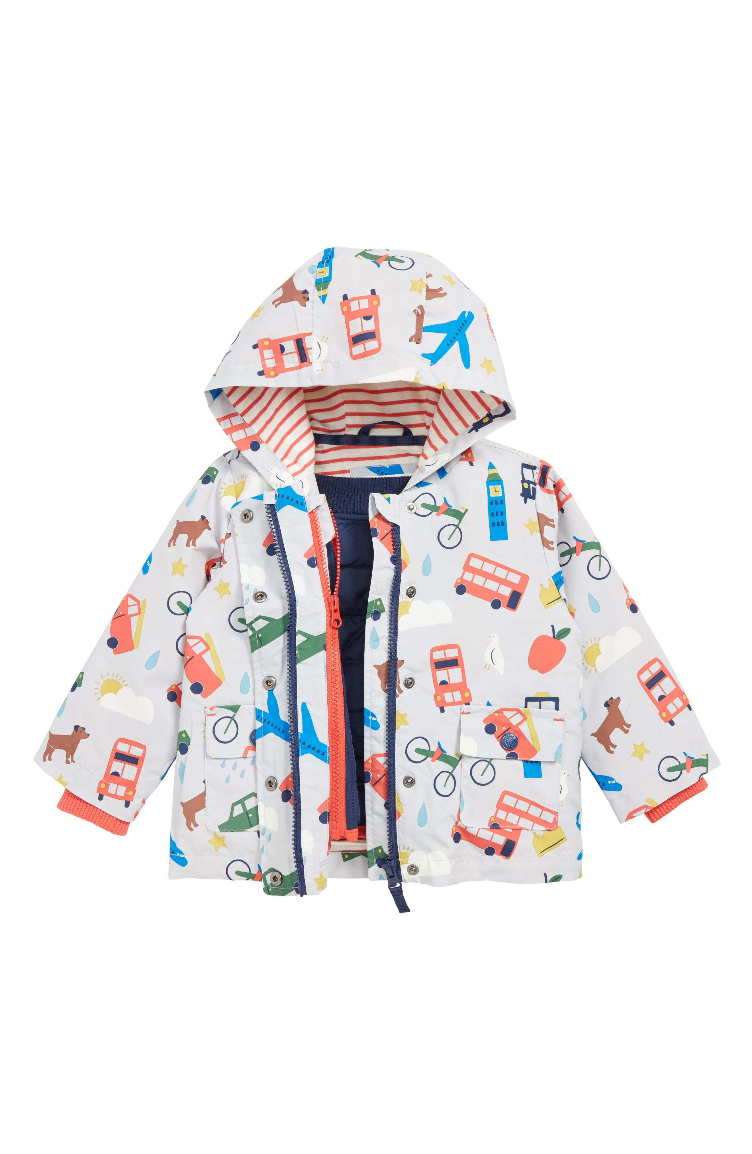 Infant Boys Mini Boden 3In1 London Print Water Repellent Jacket Size 1824M  Grey
