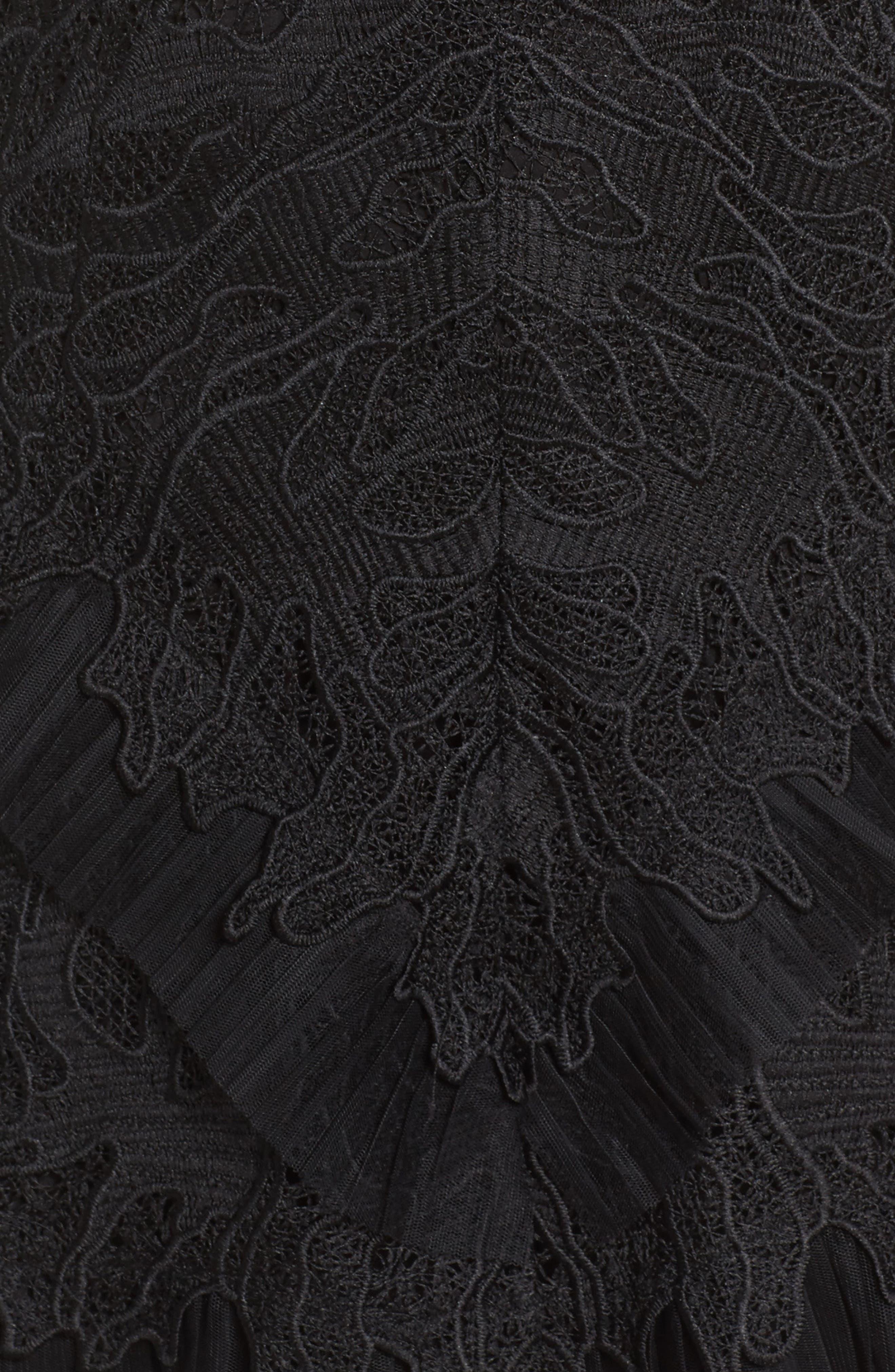 Ruffle Trim Lace Sheath Dress,                             Alternate thumbnail 5, color,                             001