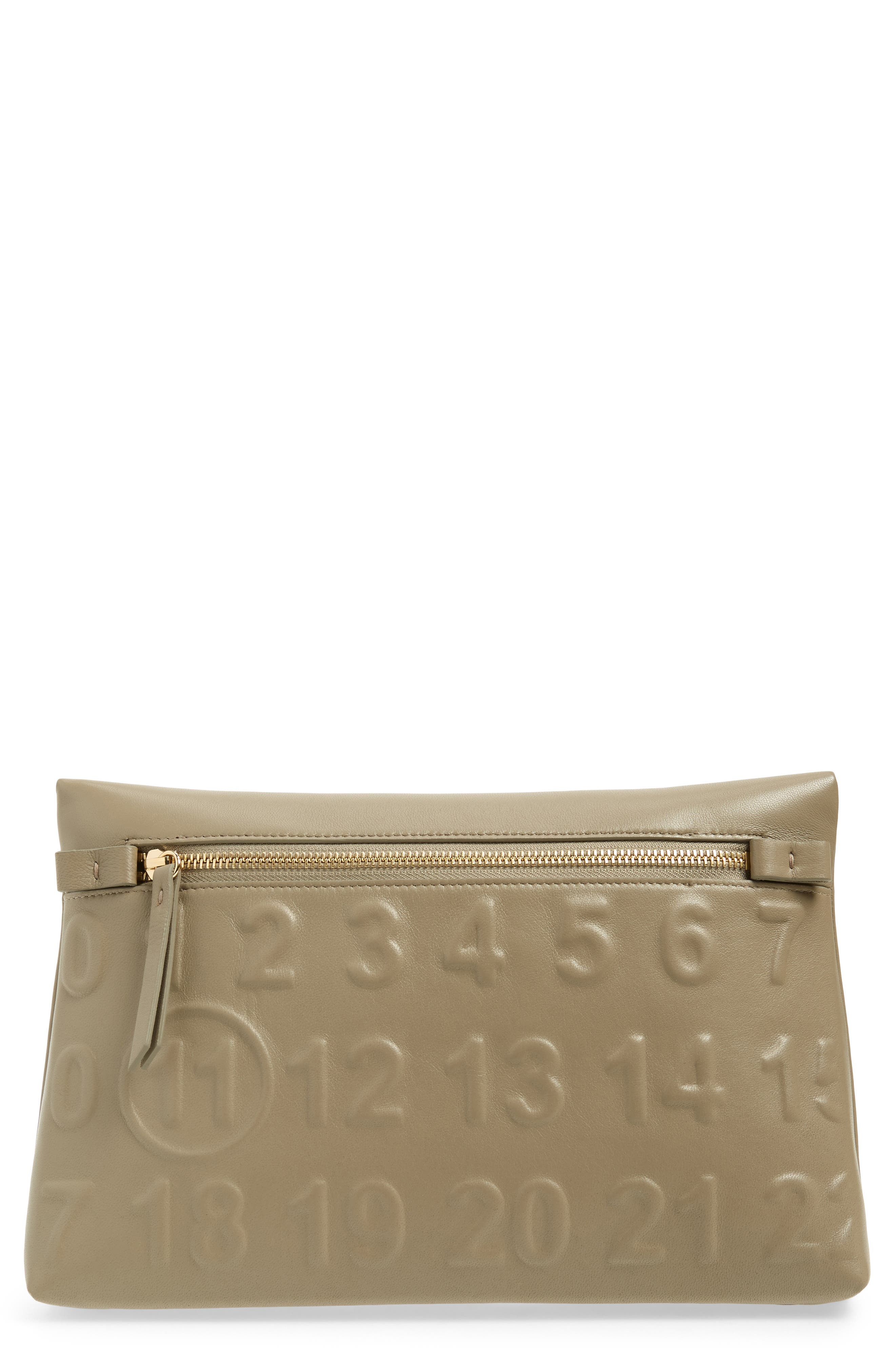 Embossed Logo Leather Clutch,                             Main thumbnail 1, color,                             357