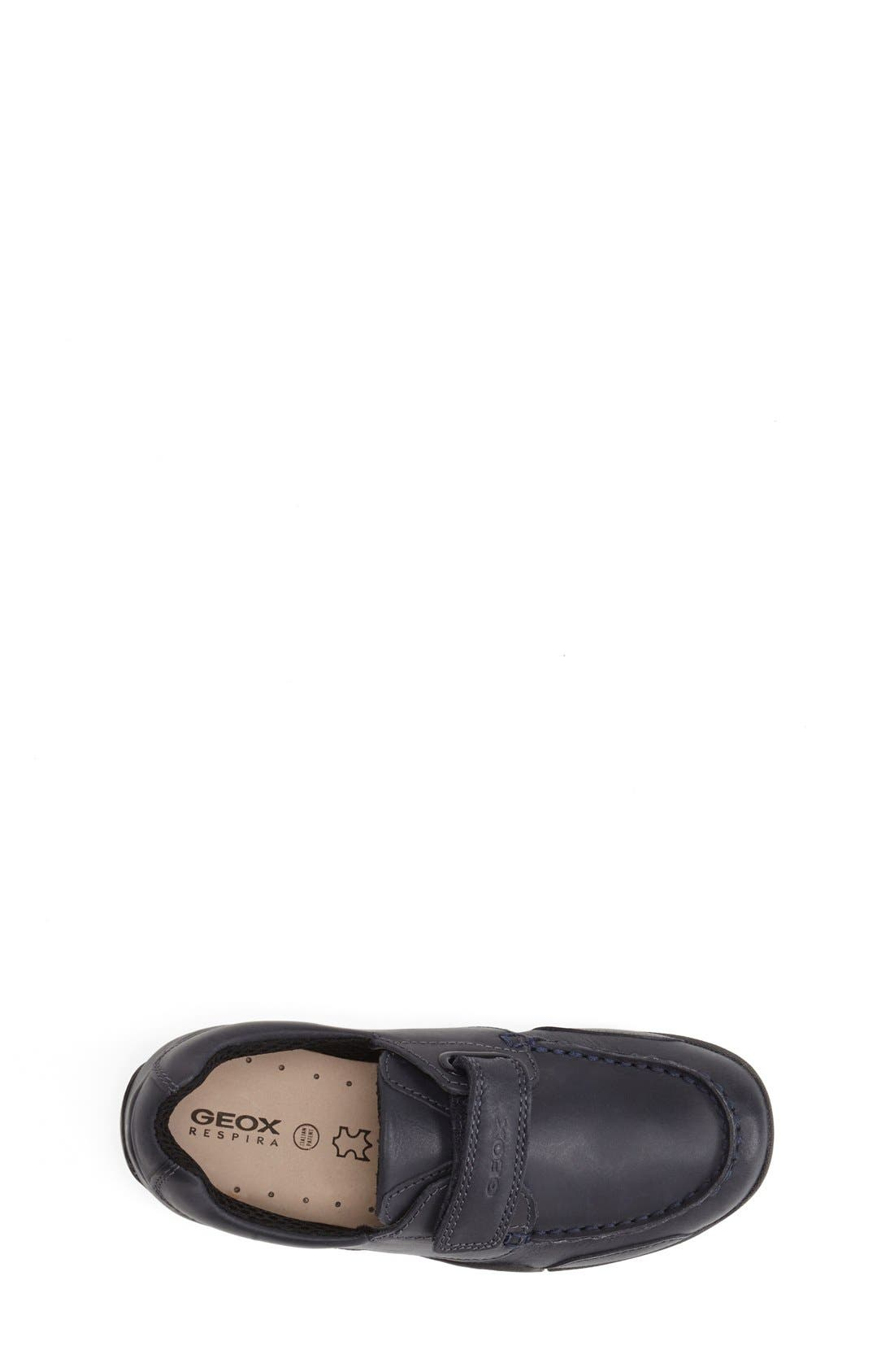 Snake Moc 2 Leather Waterproof Loafer,                             Alternate thumbnail 3, color,                             NAVY