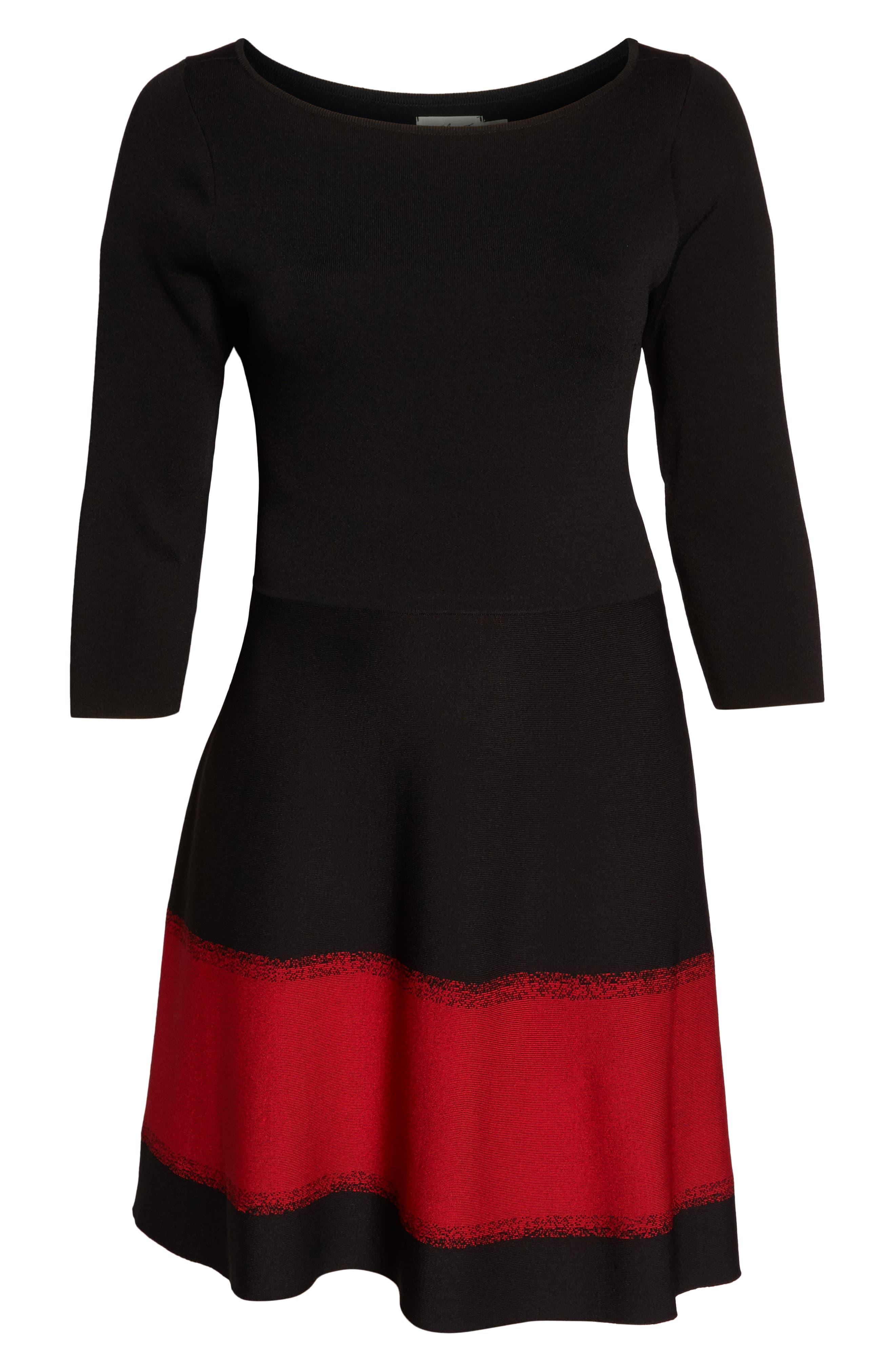 Contrast Stripe Fit & Flare Dress,                             Alternate thumbnail 7, color,                             BLACK