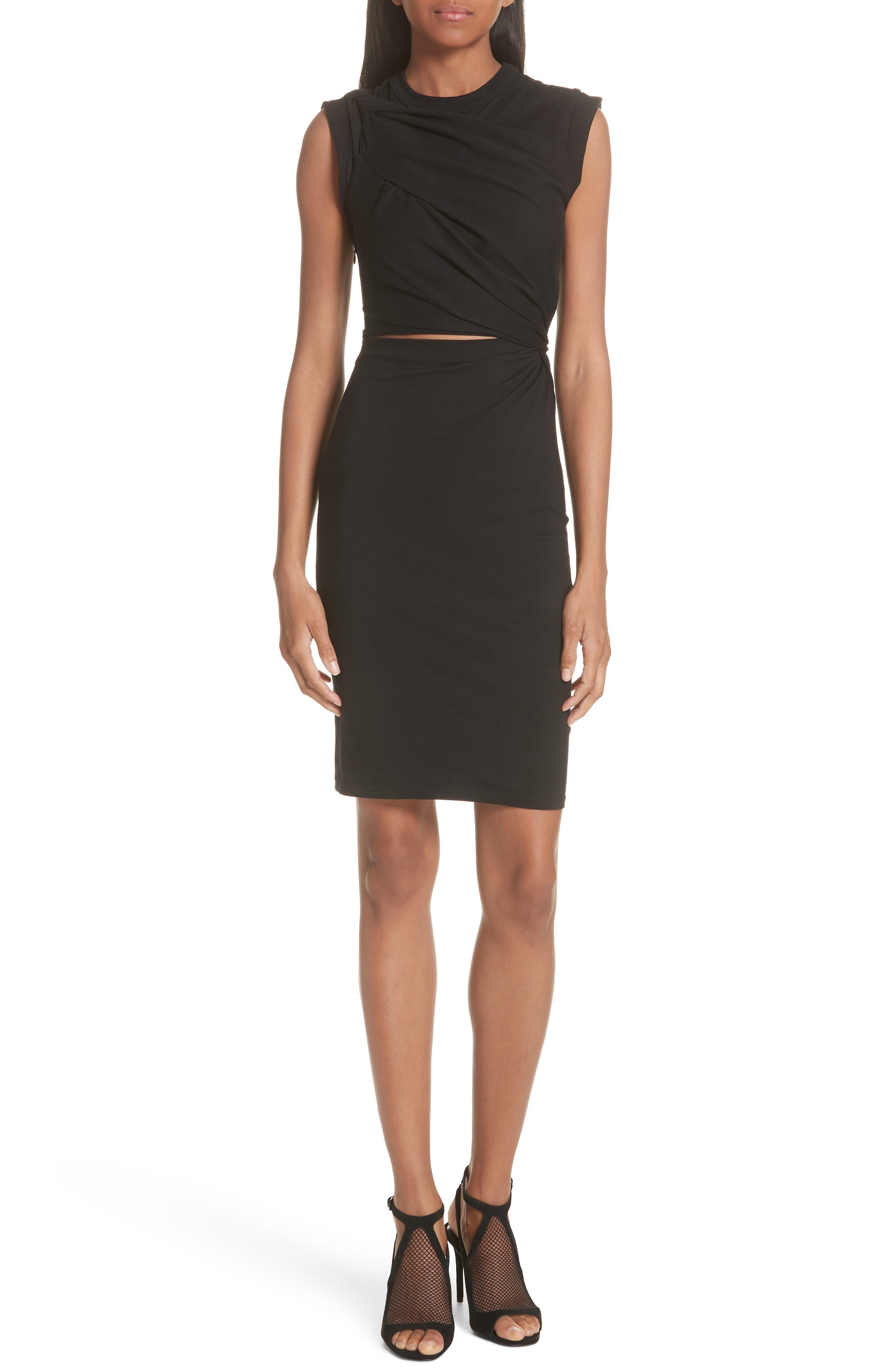 Keyhole Twist Compact Jersey Dress,                             Main thumbnail 1, color,                             BLACK