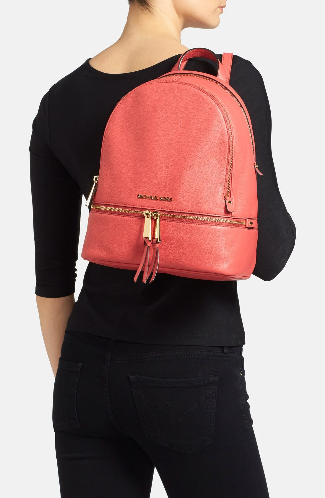 'Extra Small Rhea Zip' Leather Backpack,                             Alternate thumbnail 19, color,