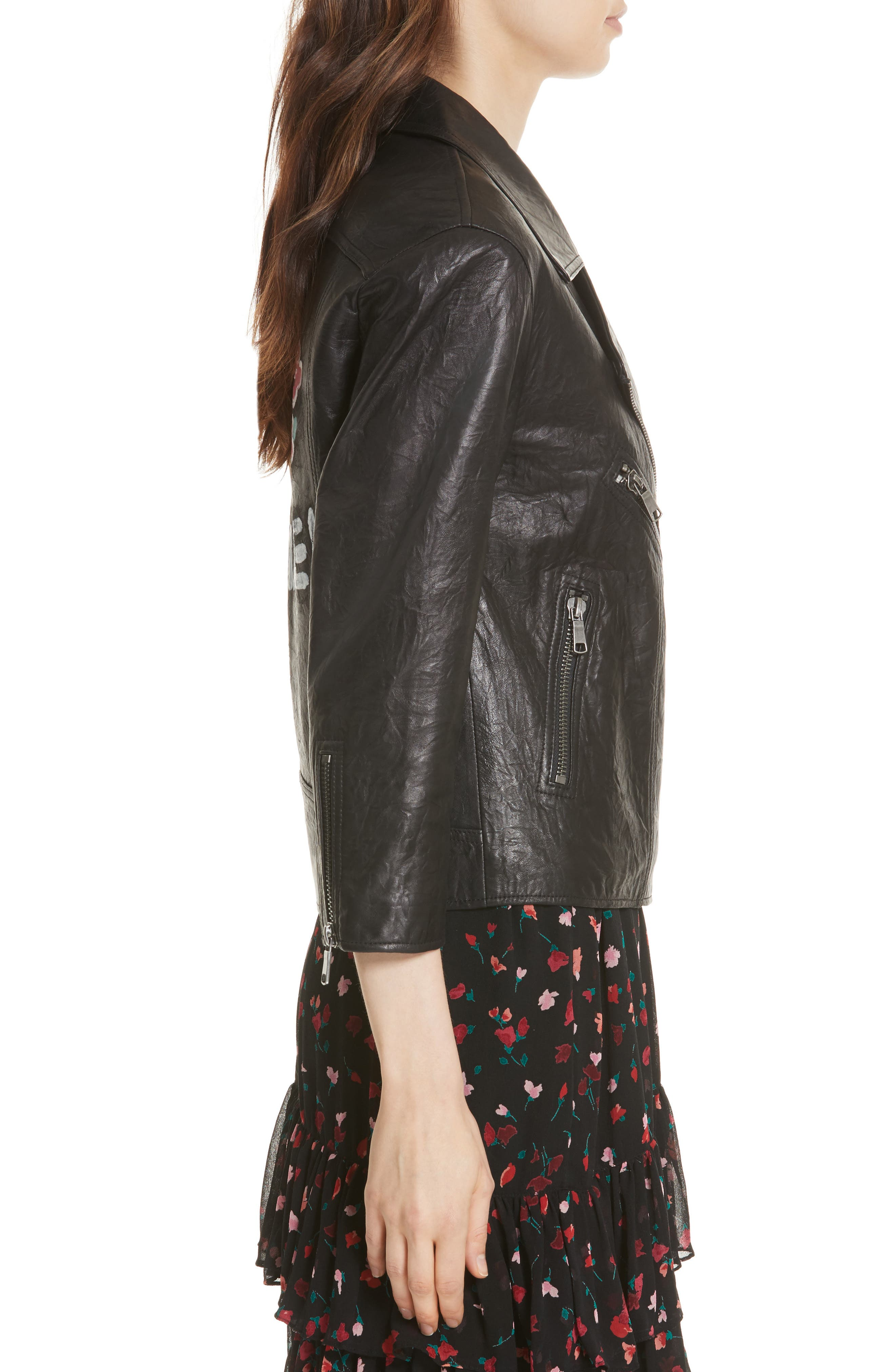 JOIE,                             Kameke Viva La Femme Lambskin Leather Jacket,                             Alternate thumbnail 3, color,                             001