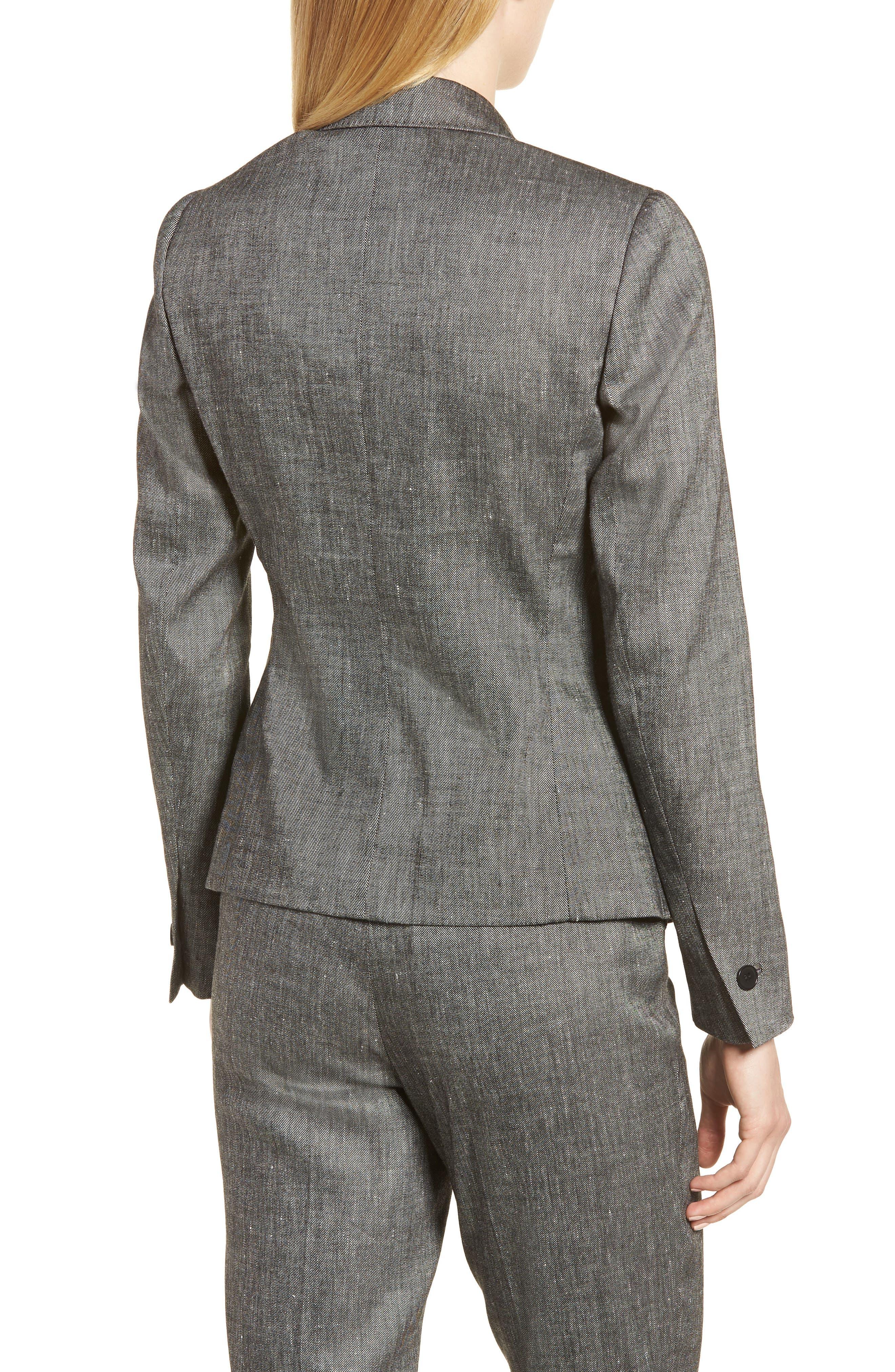 Linen Blend One-Button Suit Jacket,                             Alternate thumbnail 2, color,                             001