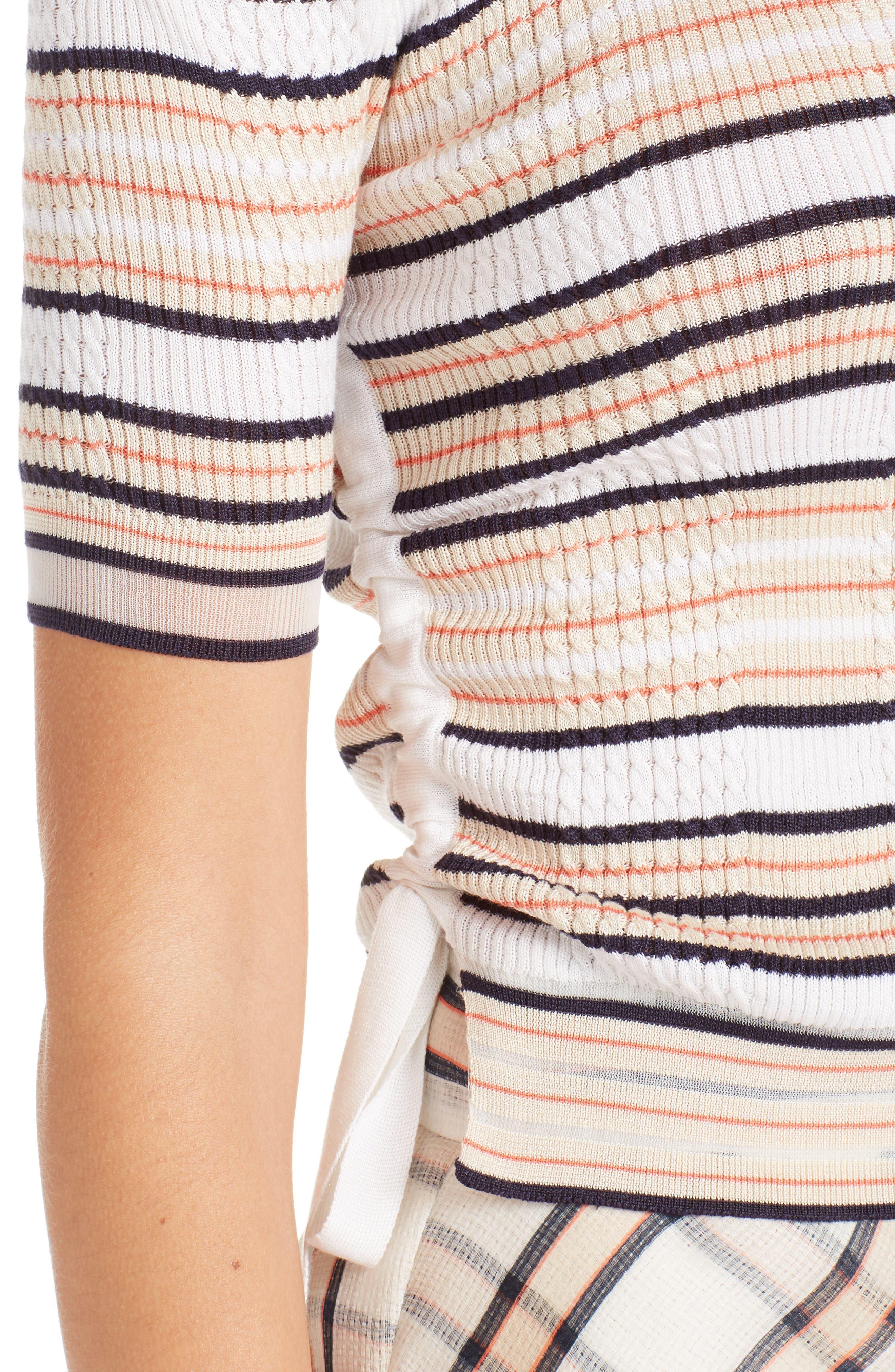Cold Shoulder Stripe Silk Blend Sweater,                             Alternate thumbnail 4, color,                             148