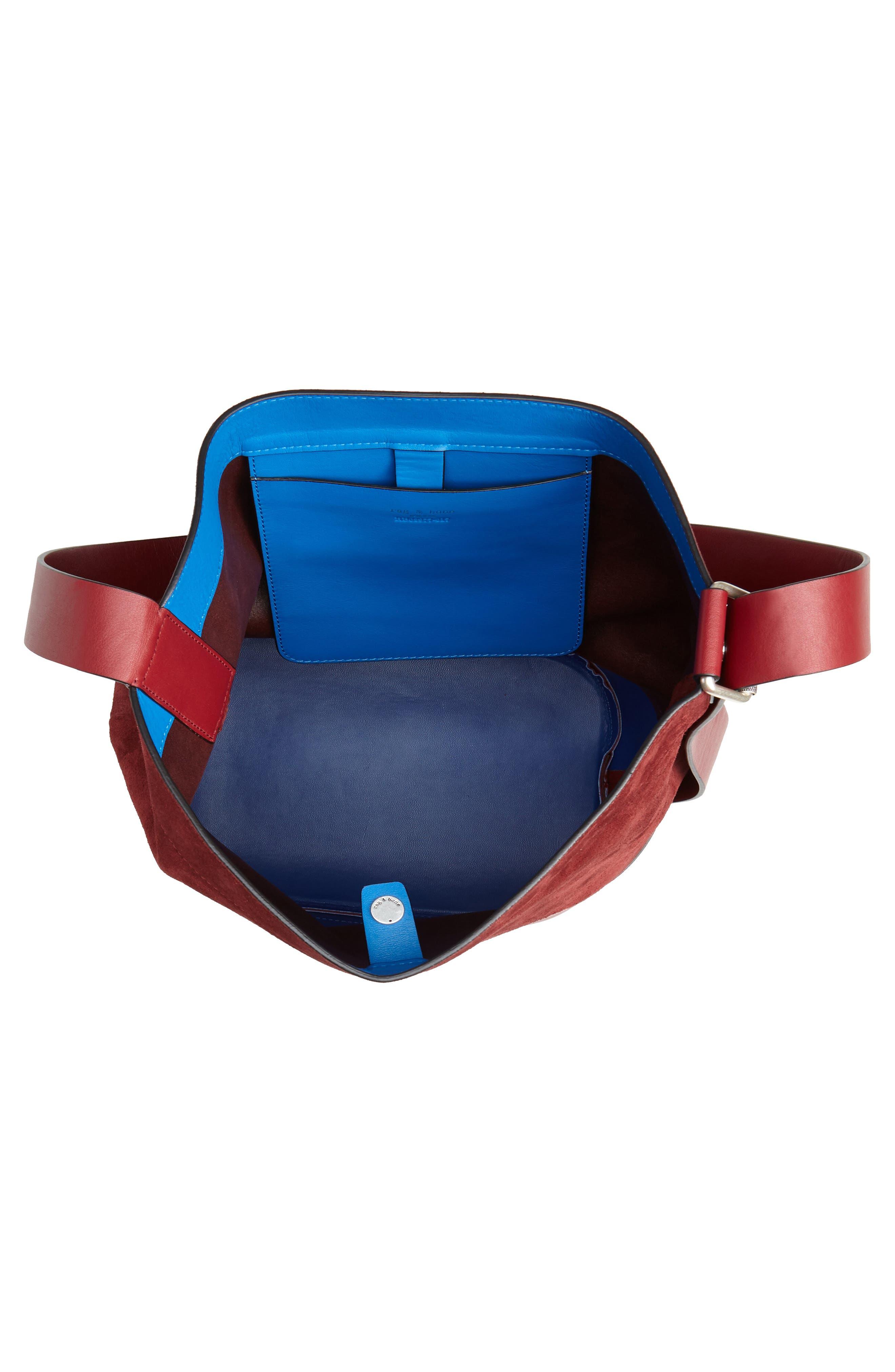 Walker Sling Suede Bucket Bag,                             Alternate thumbnail 5, color,                             BIKING RED MULTI