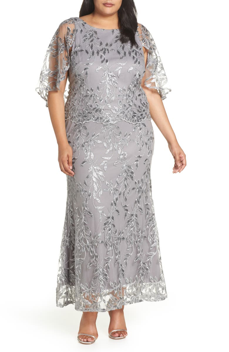 c95793b5640 Brianna Sequin Embroidered Capelet Gown (Plus Size)