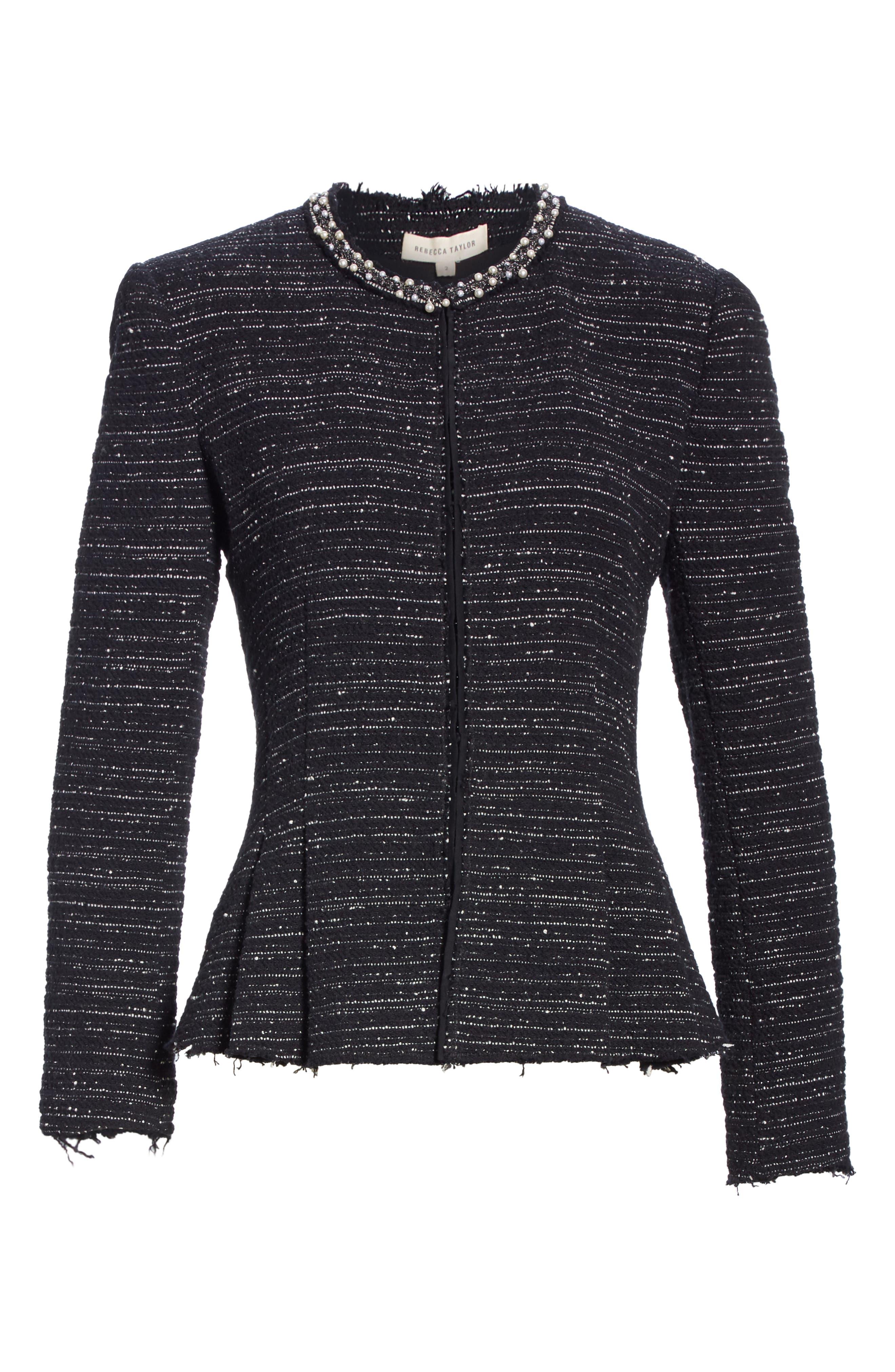 Embellished Stretch Tweed Jacket,                             Alternate thumbnail 6, color,                             BLACK COMBO