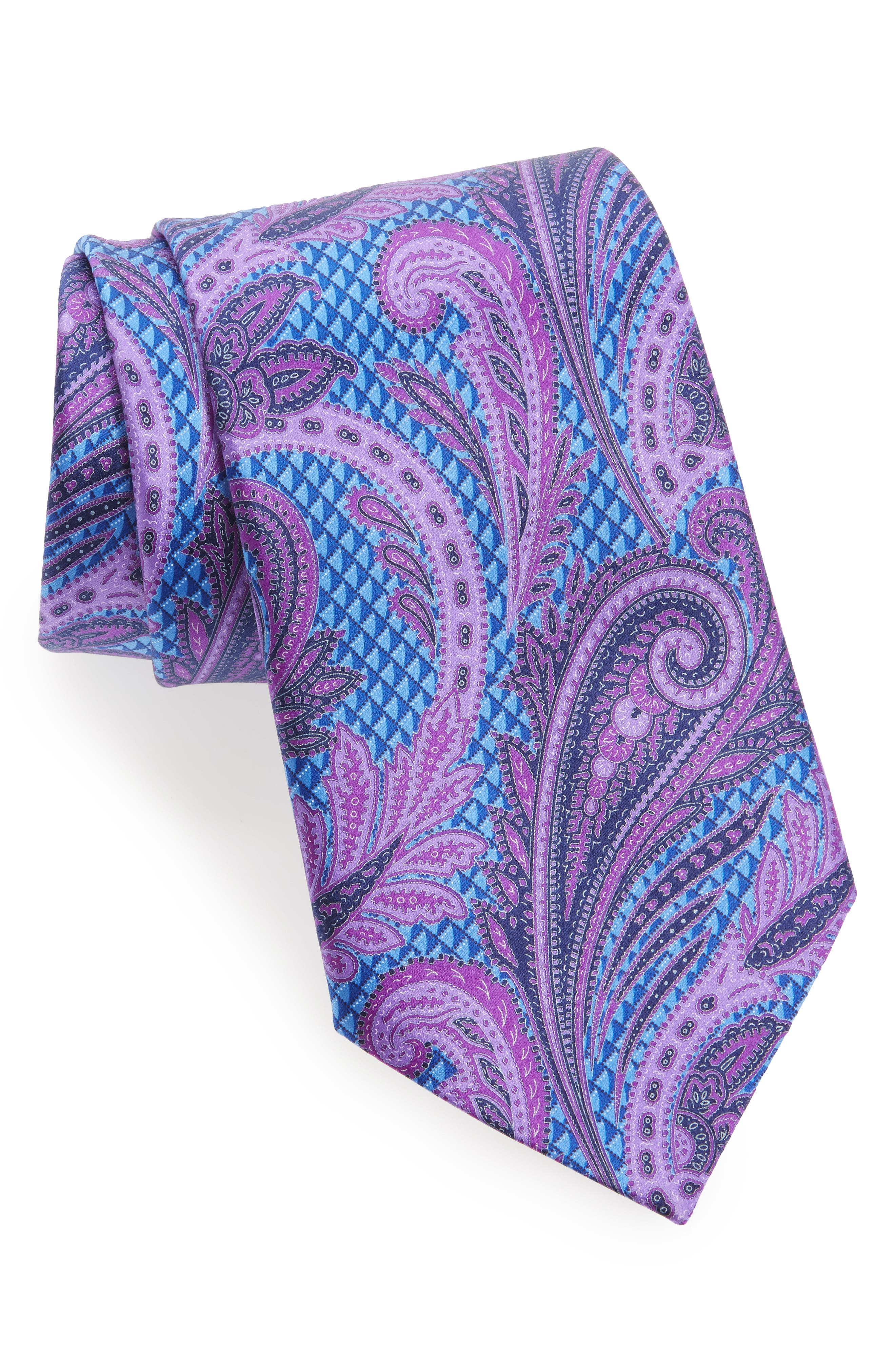 Paisley Floral Silk Tie,                             Main thumbnail 3, color,
