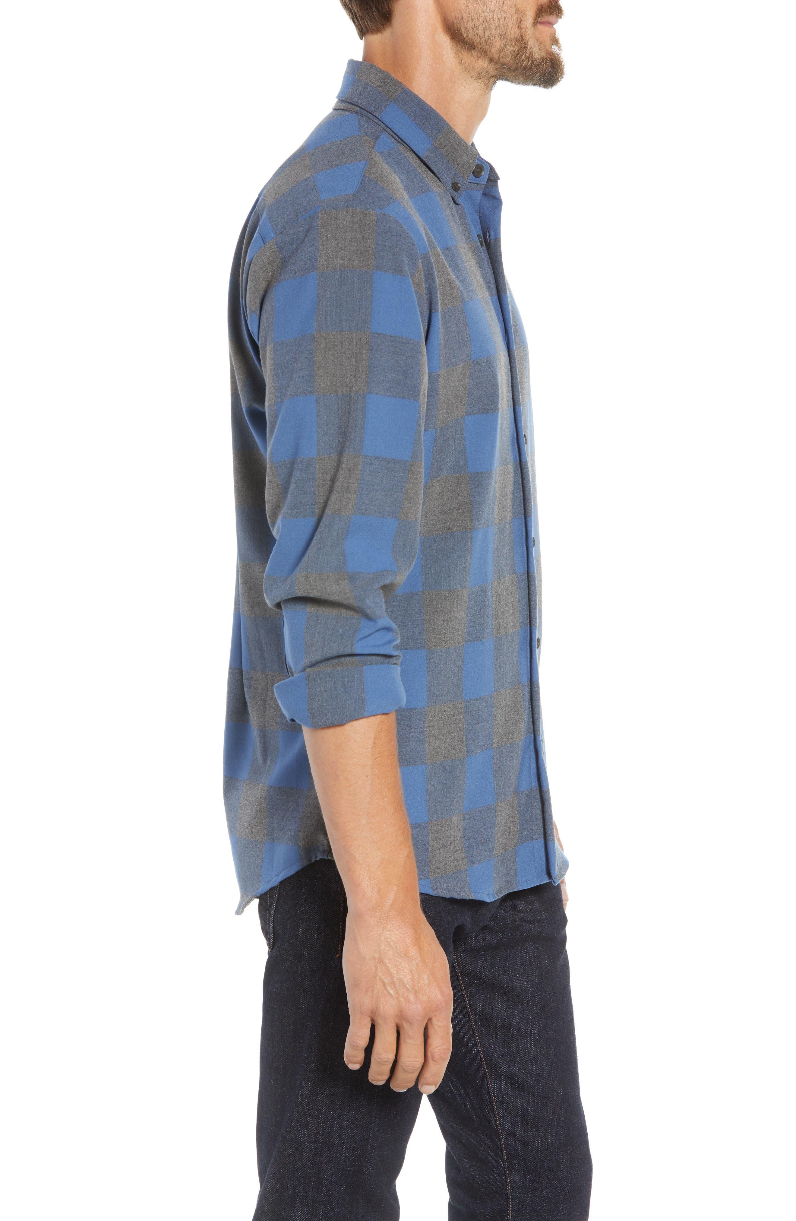 Sierra Regular Fit Flannel Sport Shirt,                             Alternate thumbnail 4, color,                             GREY
