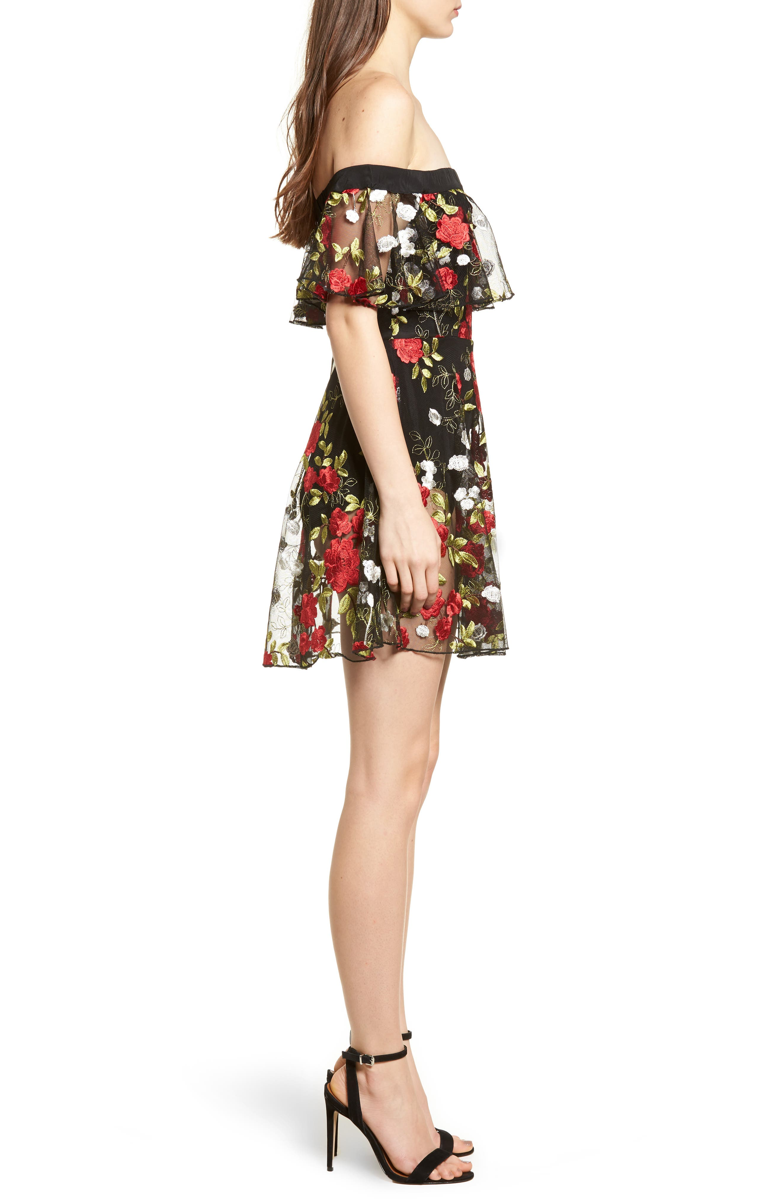 Erica Sheer Embroidered A-Line Dress,                             Alternate thumbnail 3, color,                             HALCYON