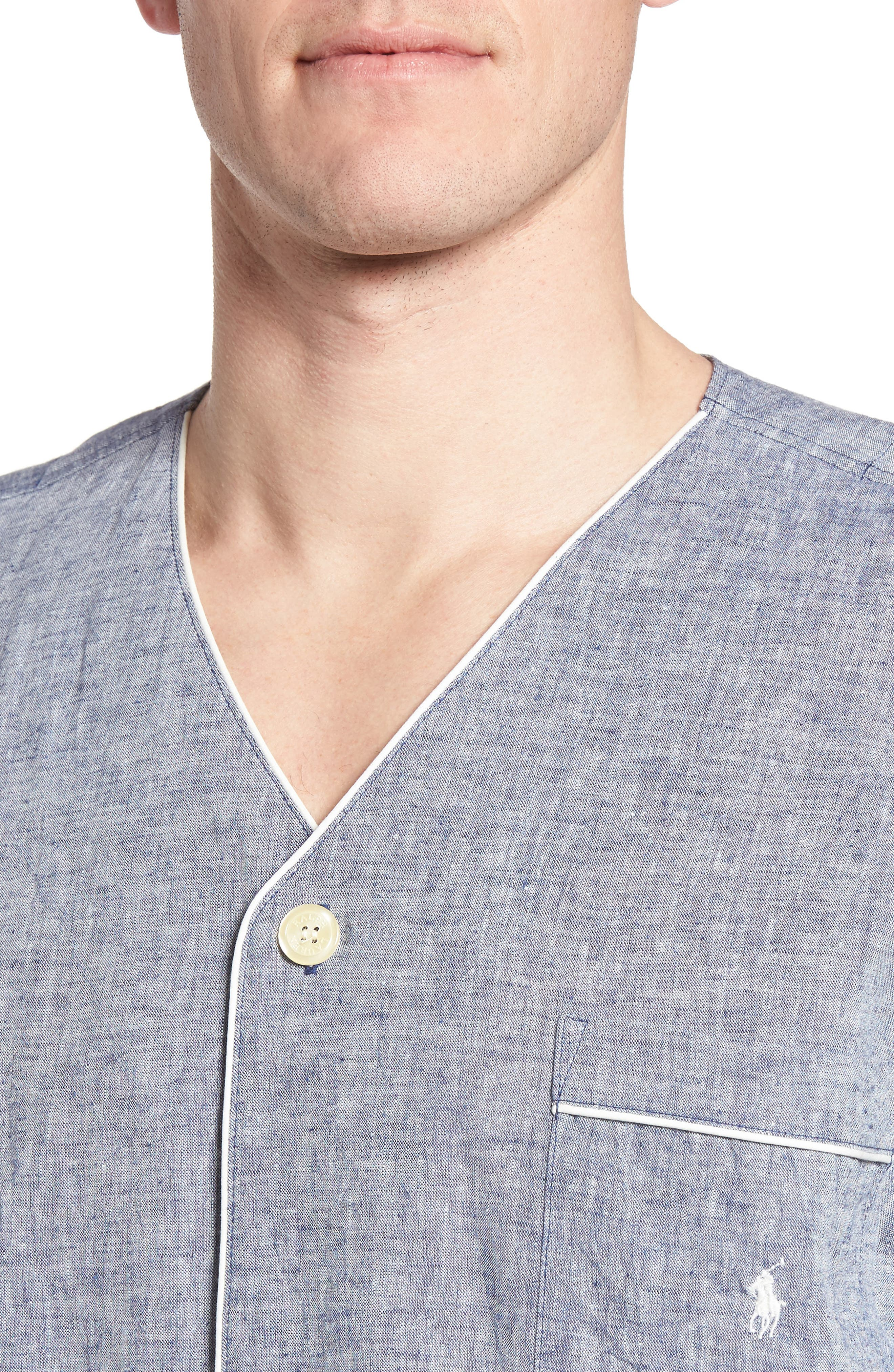Linen & Cotton Pajama Shirt,                             Alternate thumbnail 4, color,                             400