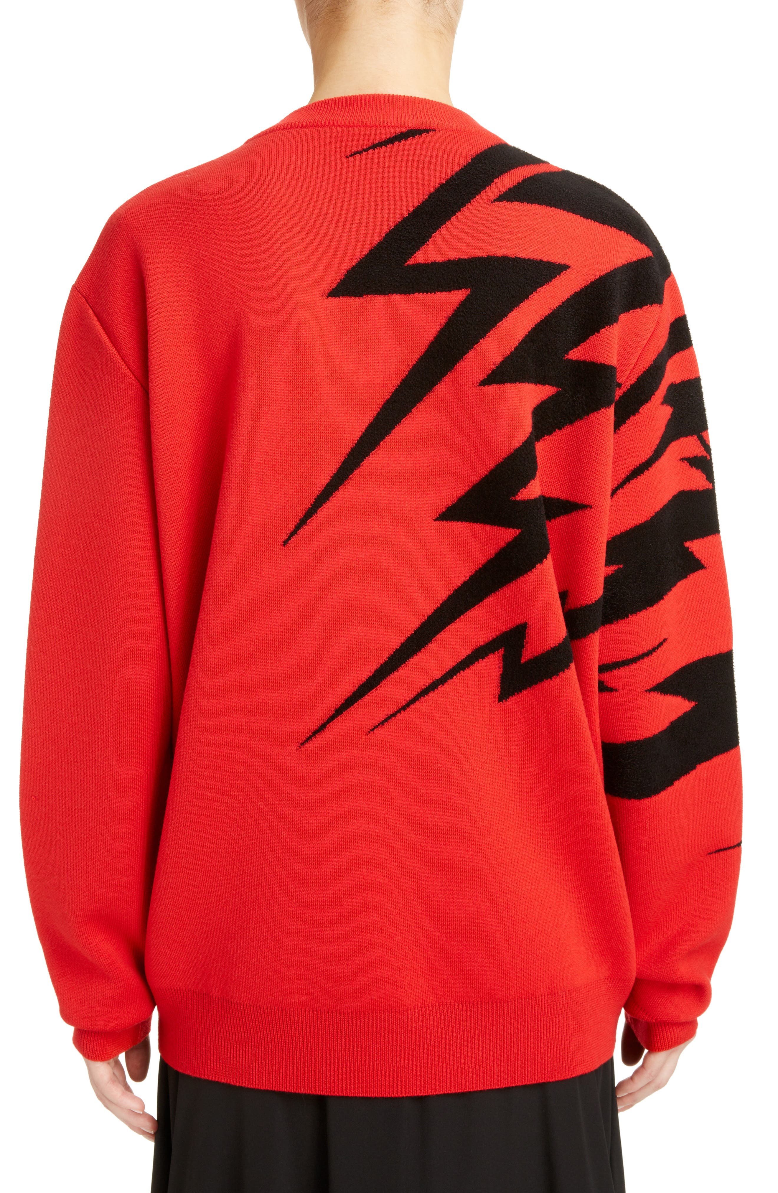 Tiger Wool Jacquard Sweater,                             Alternate thumbnail 2, color,                             RED/ BLACK