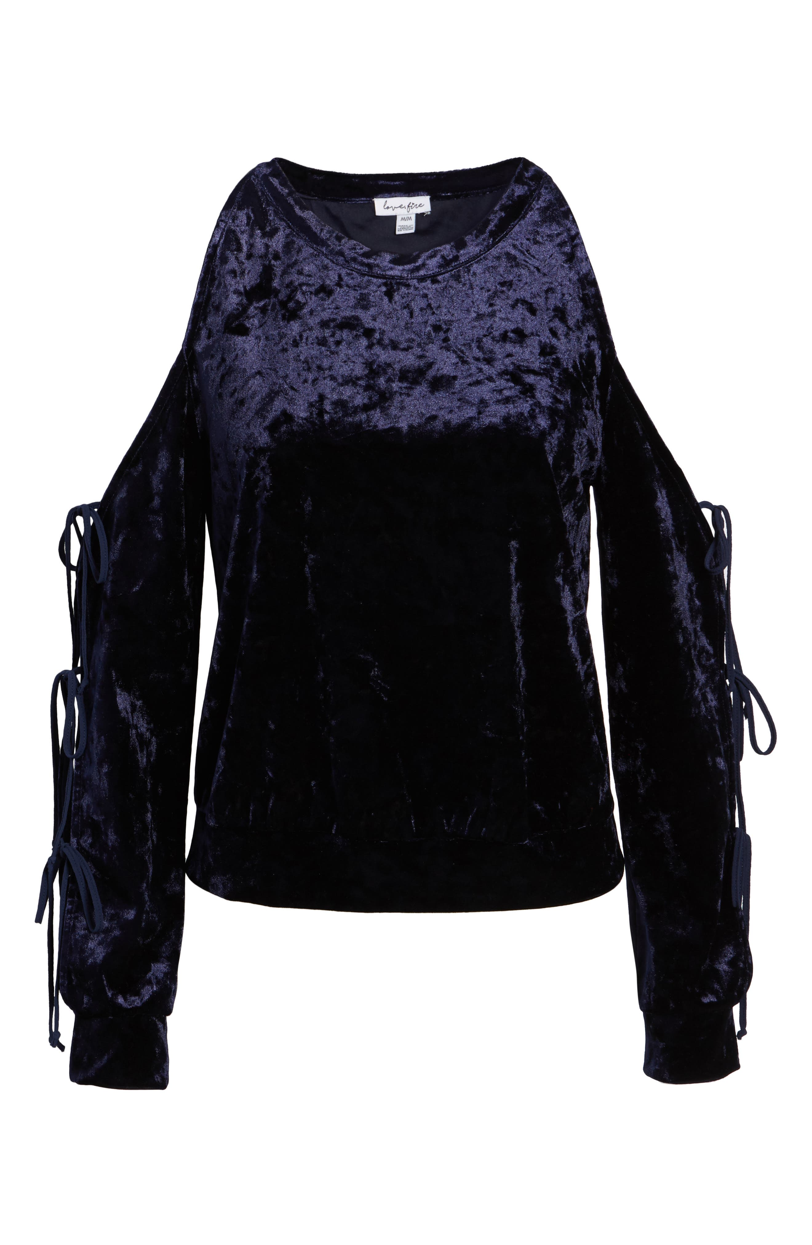 Crushed Velvet Cold Shoulder Sweatshirt,                             Alternate thumbnail 6, color,                             412