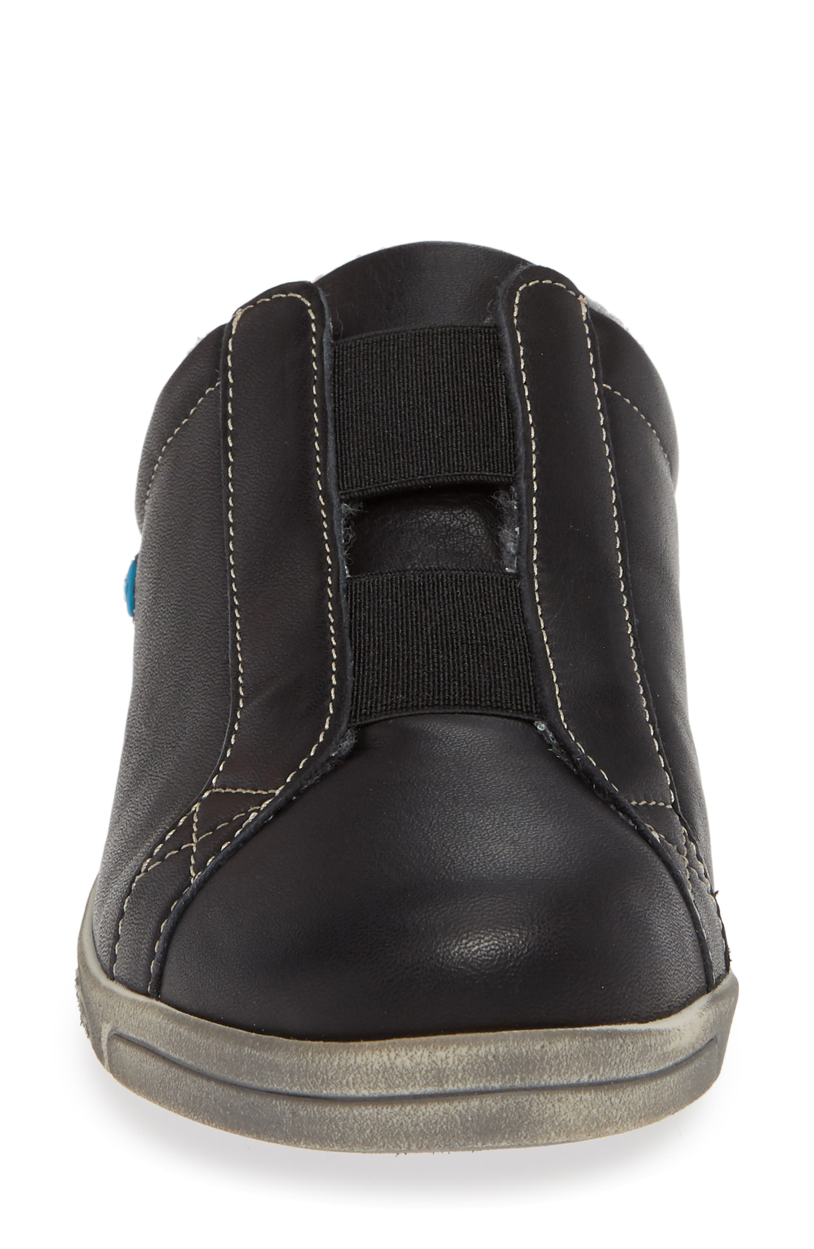 Alexis Wool Lined Backless Sneaker,                             Alternate thumbnail 4, color,                             BLACK LEATHER