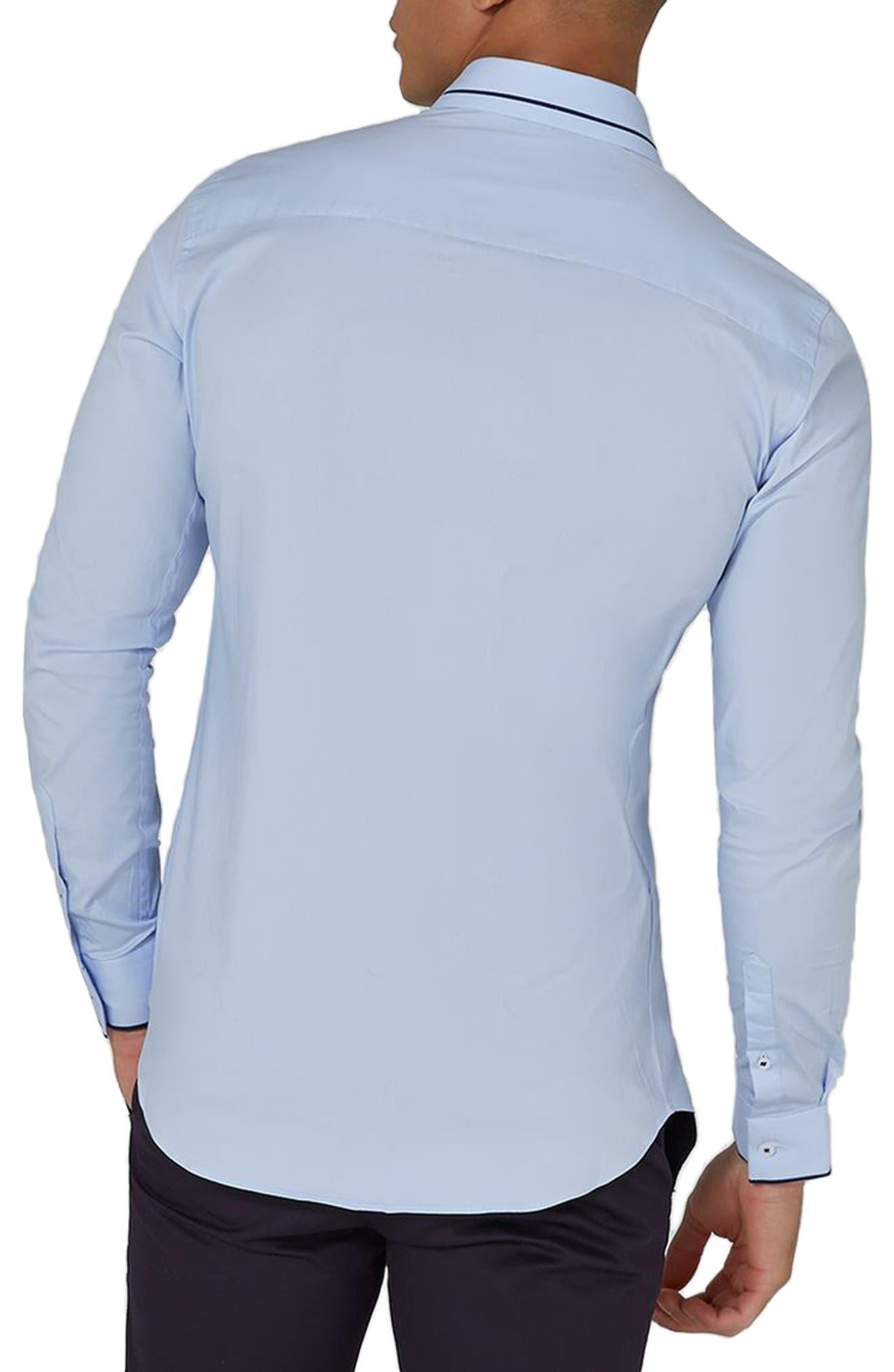 TOPMAN,                             Classic Fit Stripe Smart Shirt,                             Alternate thumbnail 2, color,                             450