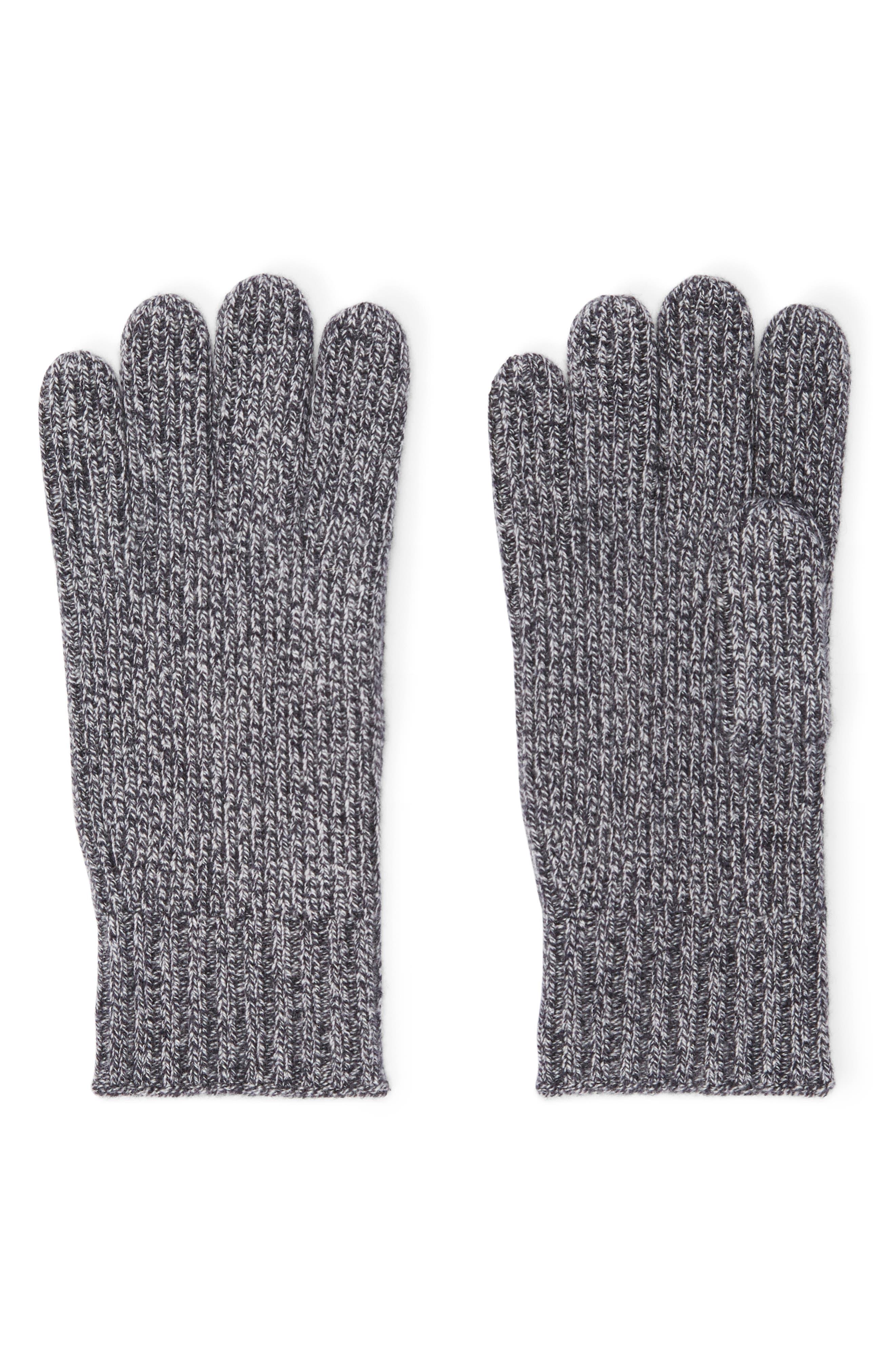 Kensington Cashmere Blend Gloves,                             Main thumbnail 1, color,                             SALT AND PEPPER MARL