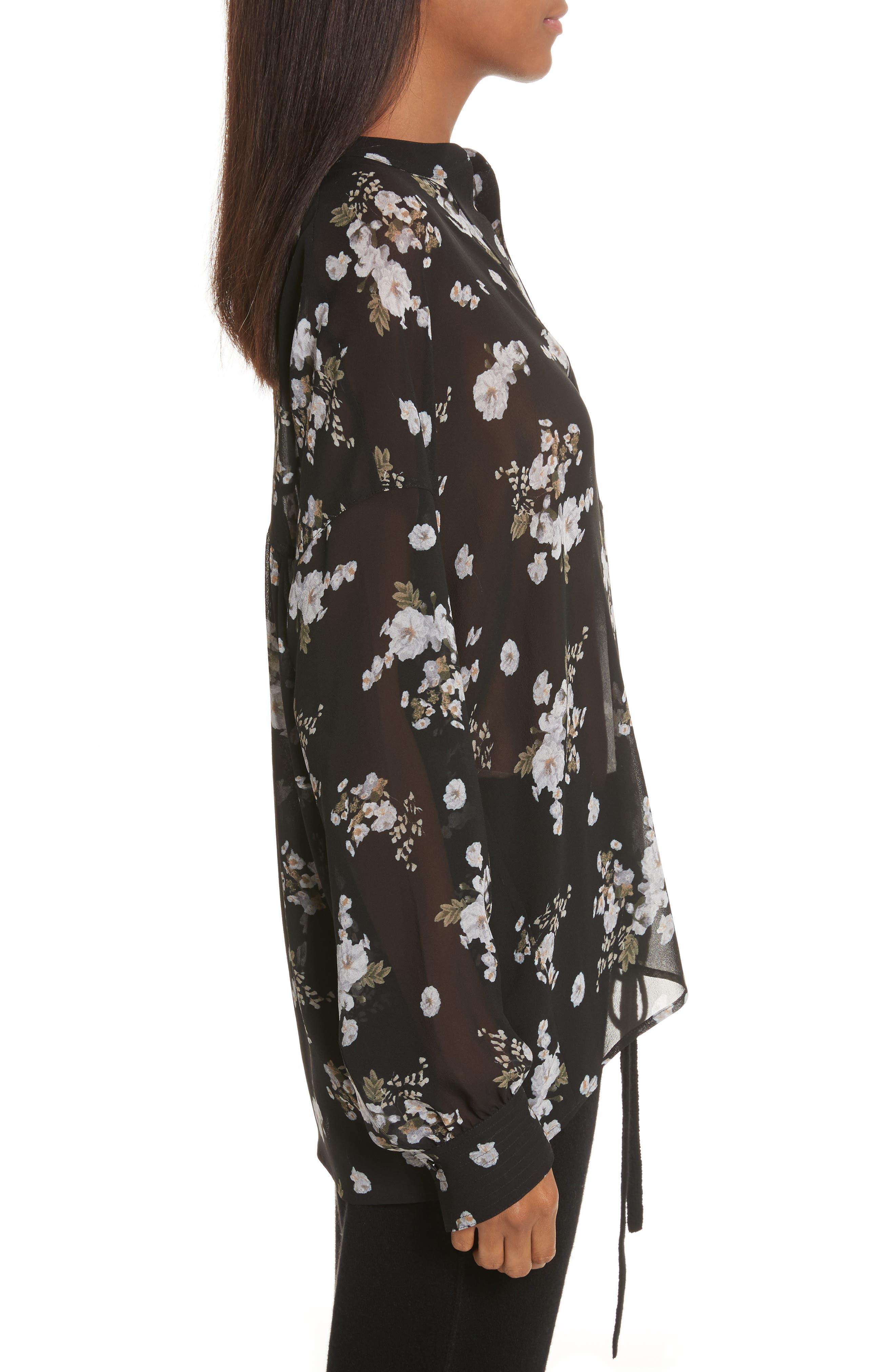 Shirred Floral Silk Blouse,                             Alternate thumbnail 3, color,                             001