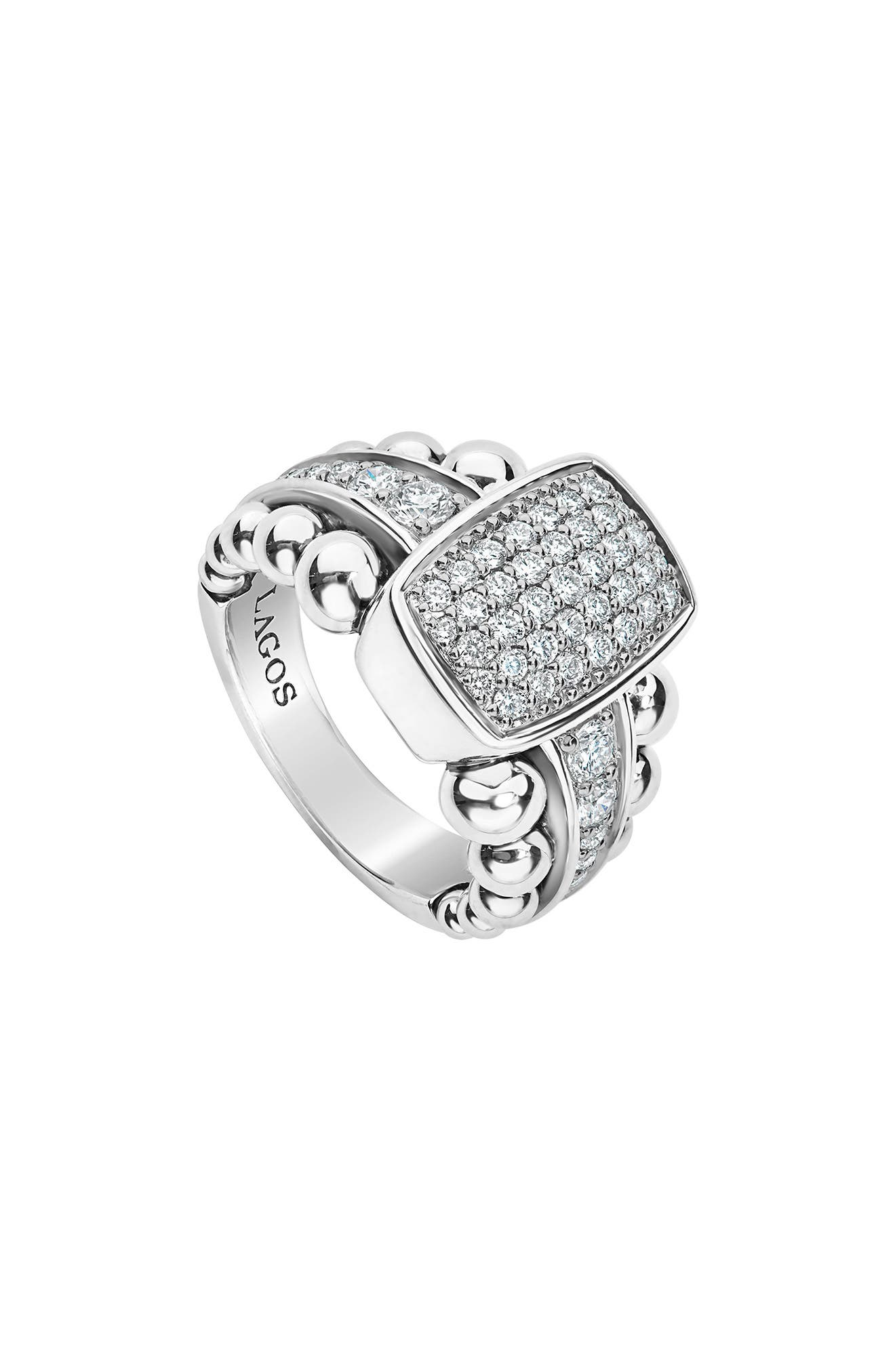 LAOGS Caviar Spark Vertical Statement Ring,                             Main thumbnail 1, color,                             SILVER/ DIAMOND