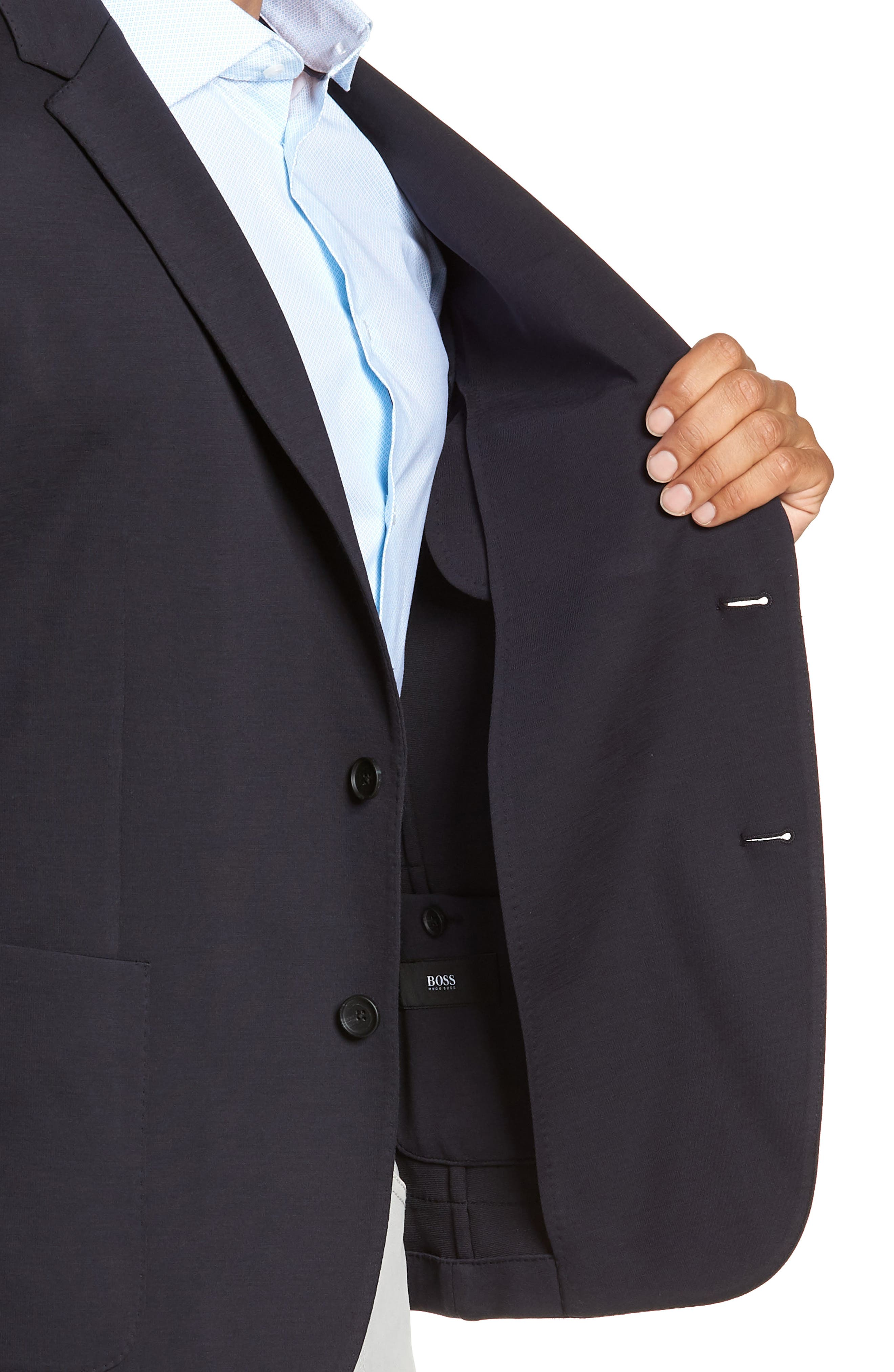 BOSS,                             Nold Trim Fit Stretch Wool Blend Sport Coat,                             Alternate thumbnail 4, color,                             OPEN BLUE