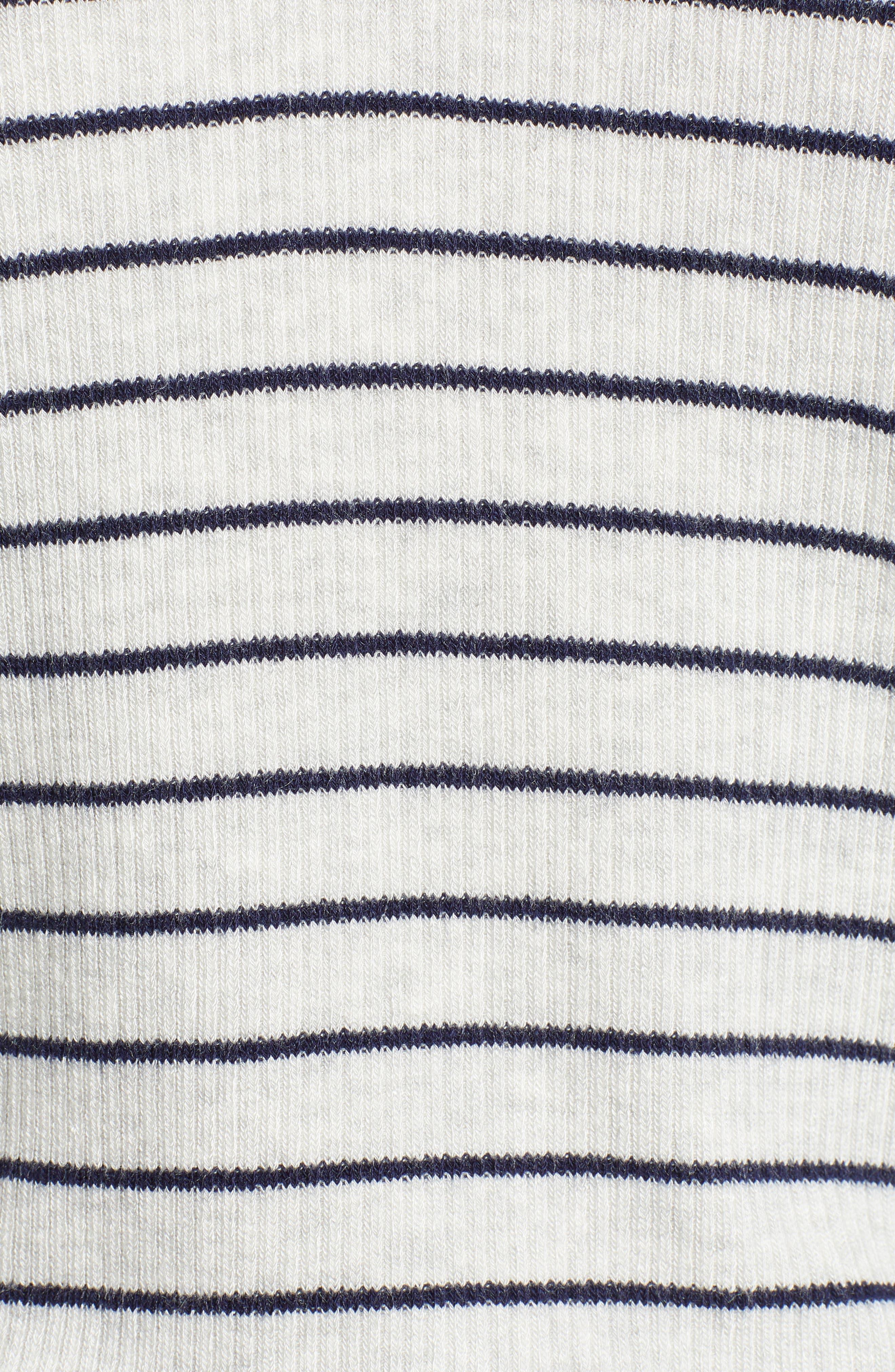Rib Stripe V-Neck Top,                             Alternate thumbnail 5, color,                             ASH